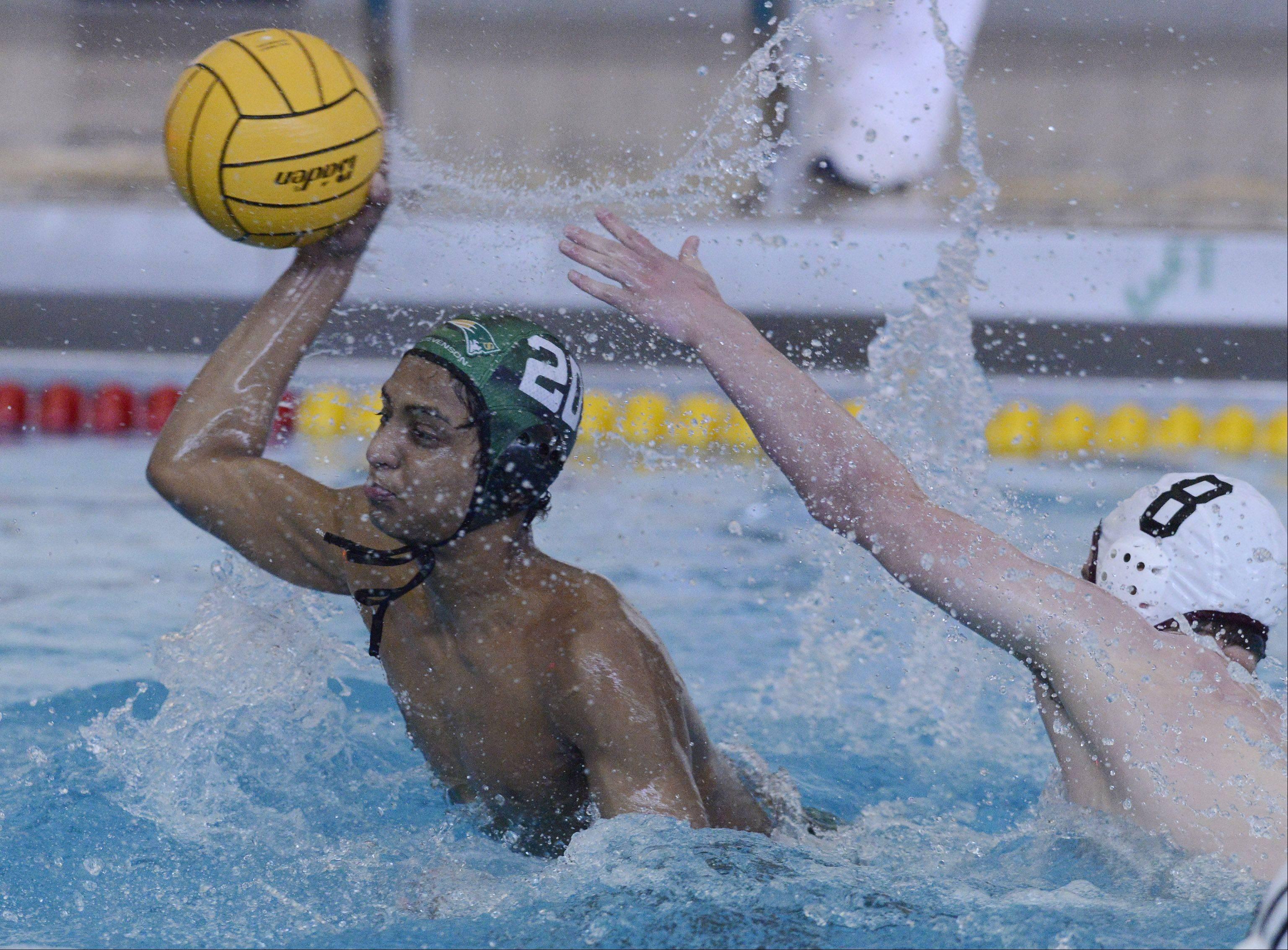 Stevenson's Verun Mummadi scores a goal during the boys water polo state semifinals against St. Ignatius at Stevenson on Saturday.