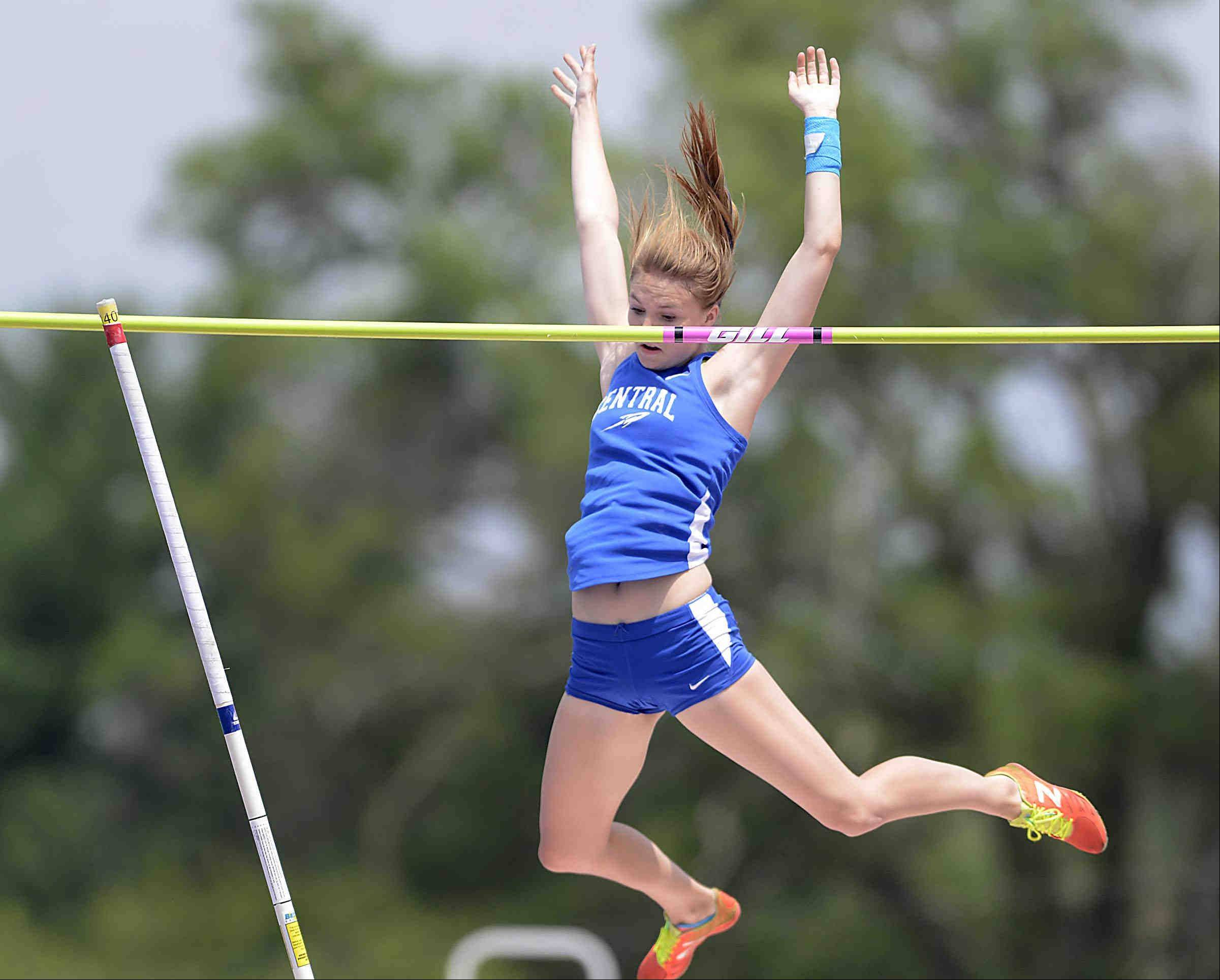 Burlington Central's Katie Trupp places second in the pole vault Saturday at the Class 2A girls state track and field finals at O'Brien Stadium at Eastern Illinois University in Charleston.