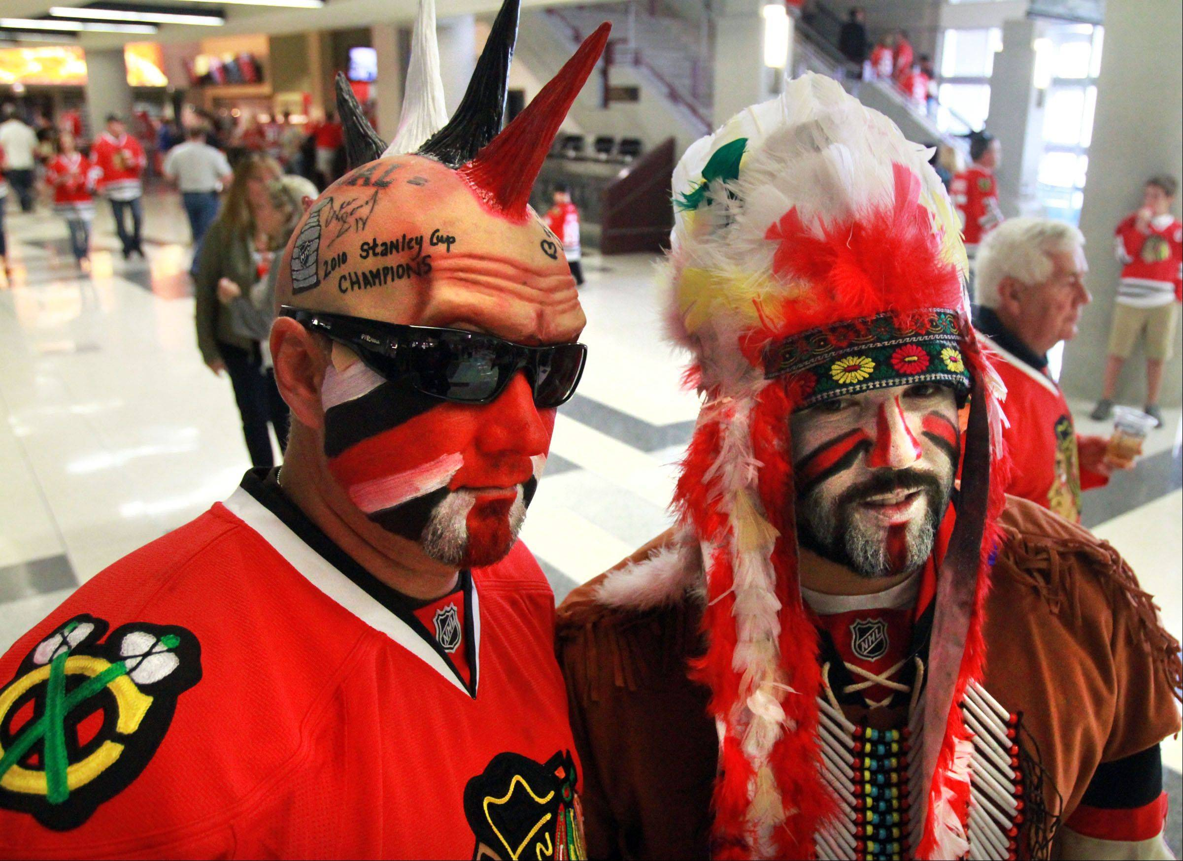 Jake Basich and Steve Desancic of Indiana arrived at the Western Conference semifinal playoffs in Chicago complete with face paint.