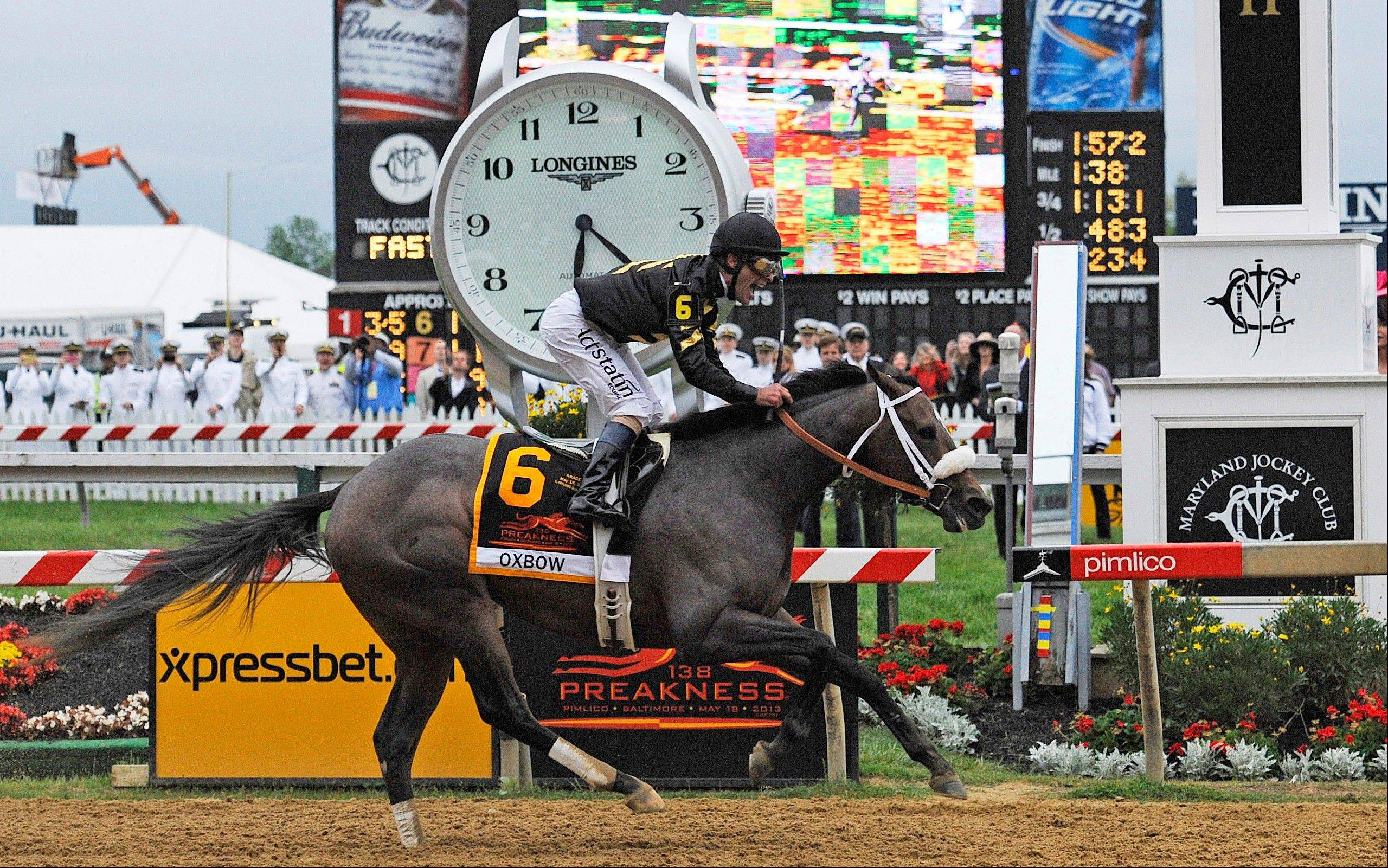 Oxbow, ridden by jockey Gary Stevens, wins the 138th Preakness Stakes horse race at Pimlico Race Course, Saturday, May 18, 2013, in Baltimore.
