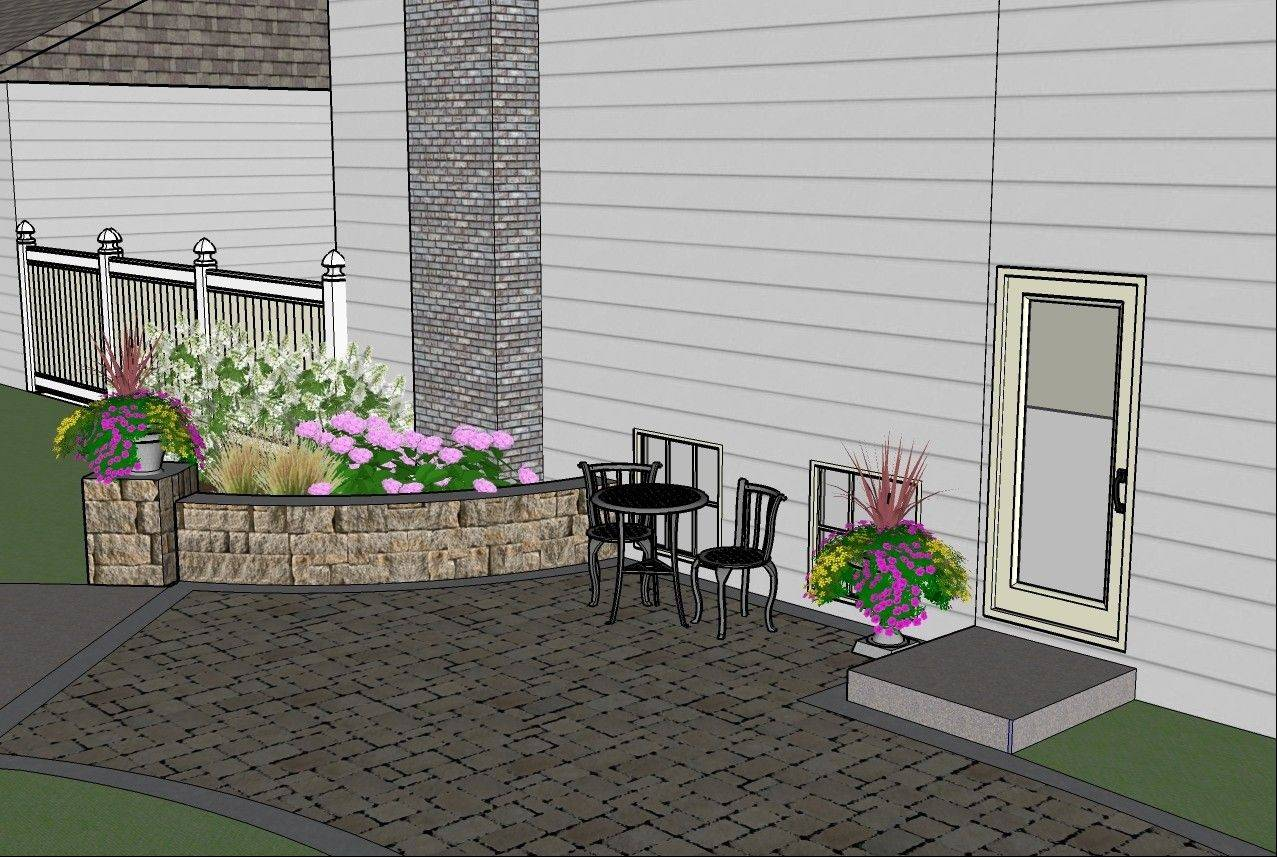 A seat wall and expanded paver area will give this yard a larger place for the owners to enjoy the outdoor space.