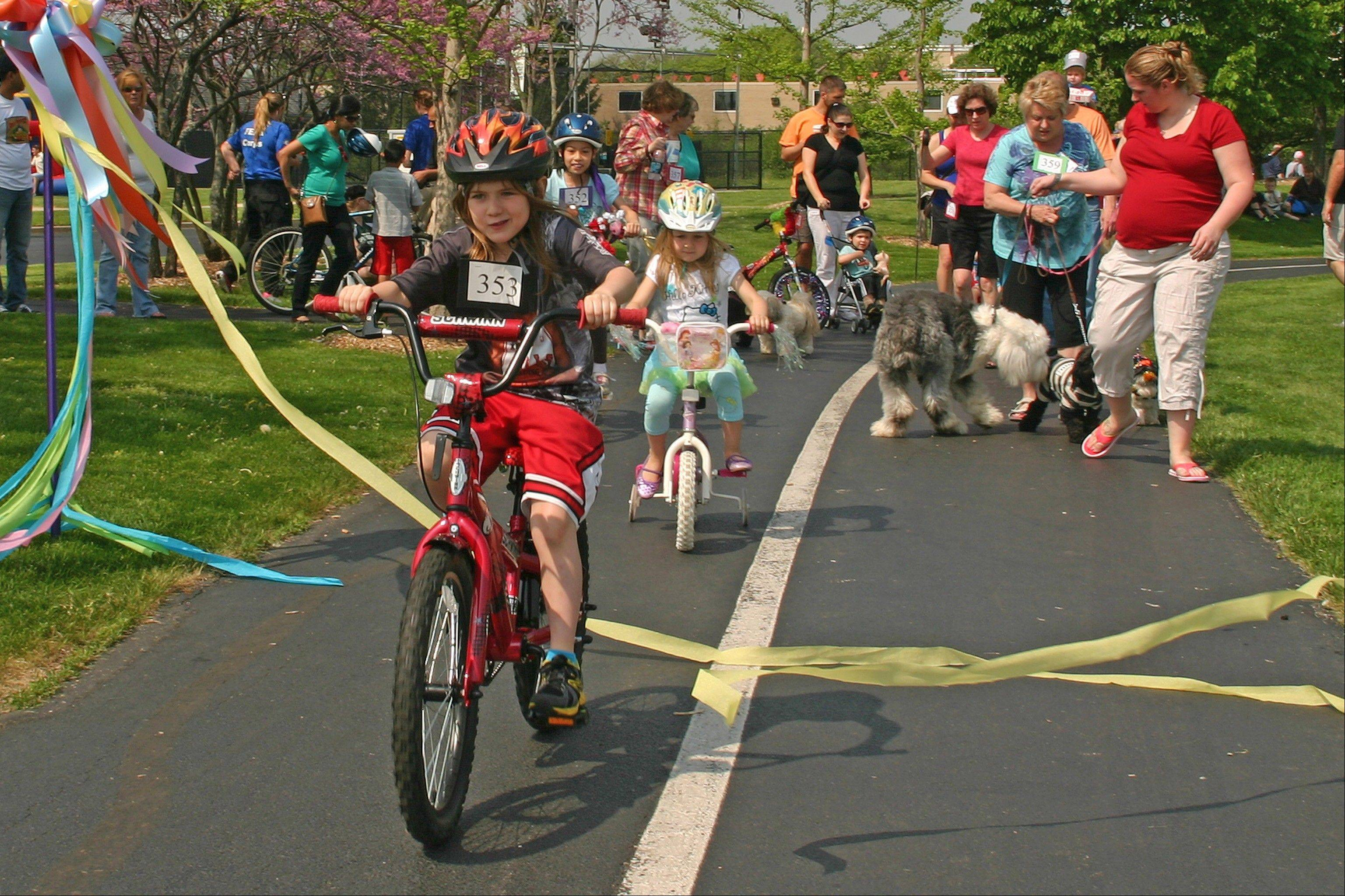 Katelyn Dahl was awarded the prize for best helmet in the Pooch, Pet, and Pedal Parade during Saturday's Des Plaines Park District Spring Fun Fair.