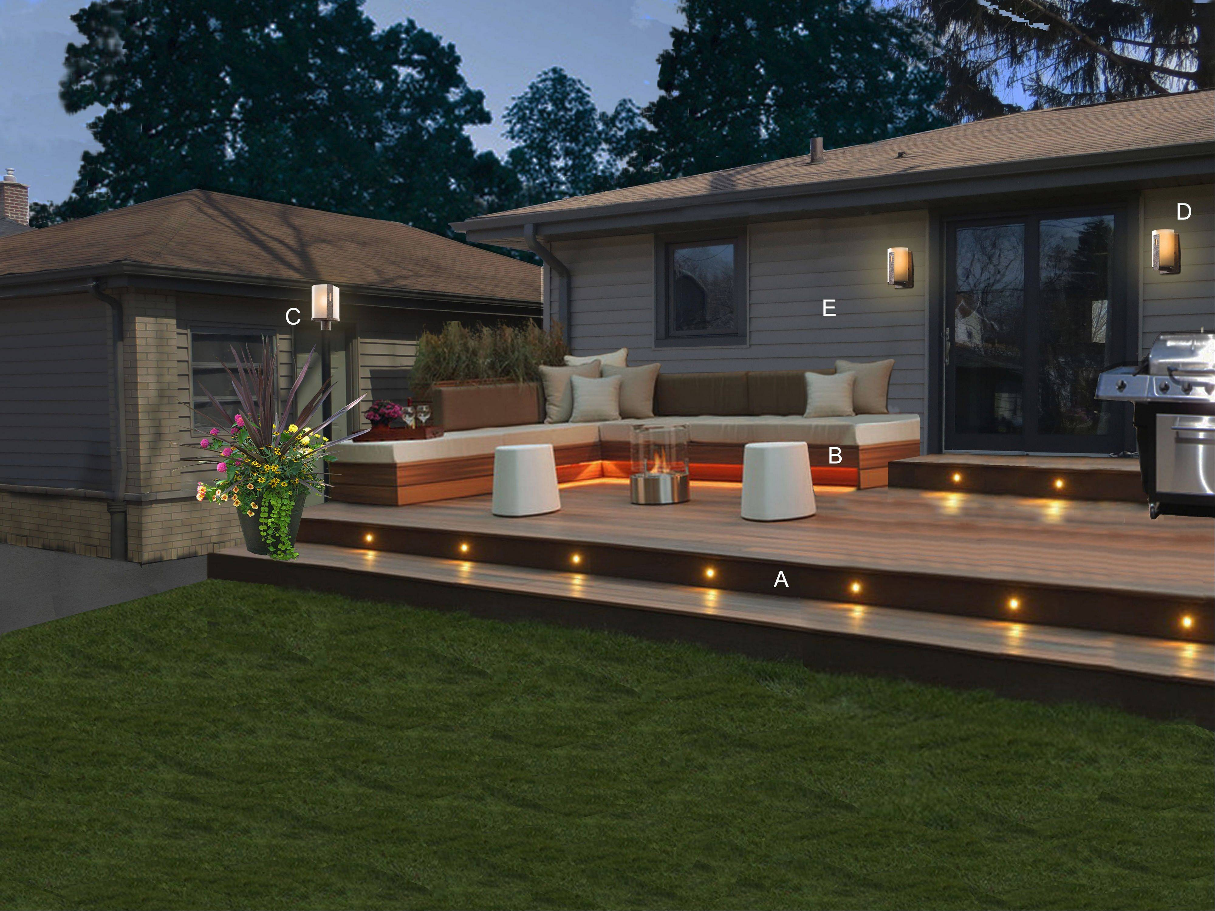 LED lighting gives the homeowner a safe way to enjoy the backyard at night.