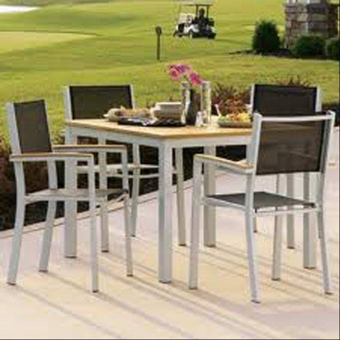Lurvey Landscape Supply and Garden Center suggests completing the patio with a dining table set by Oxford Gardens.