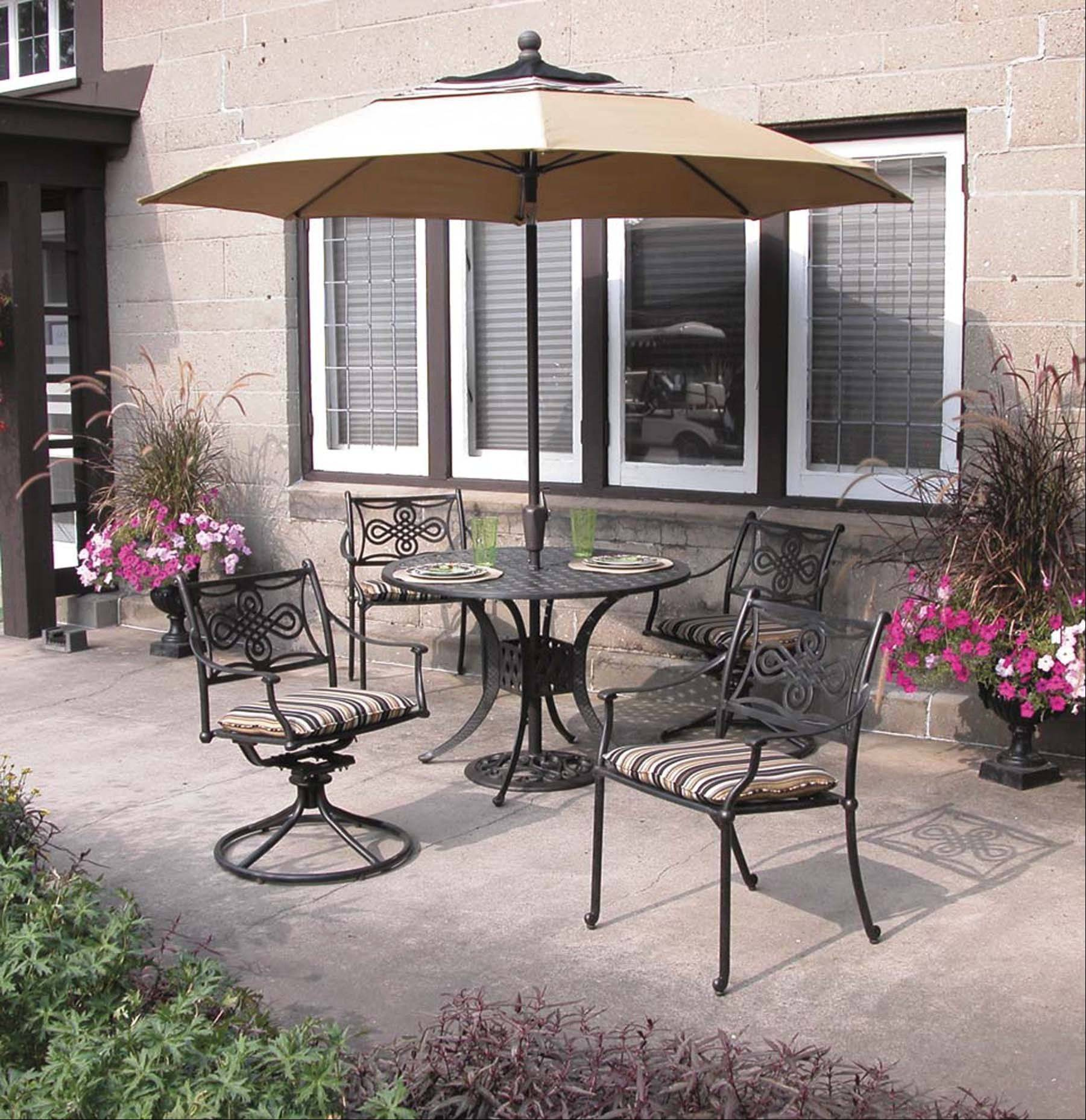 The top choice from Viking Ski and Patio Shop is the Meridian Montego Cast Aluminum set, which has a round 48-inch table and a low height so it won't block views. It is a low-maintenance set made from aluminum.