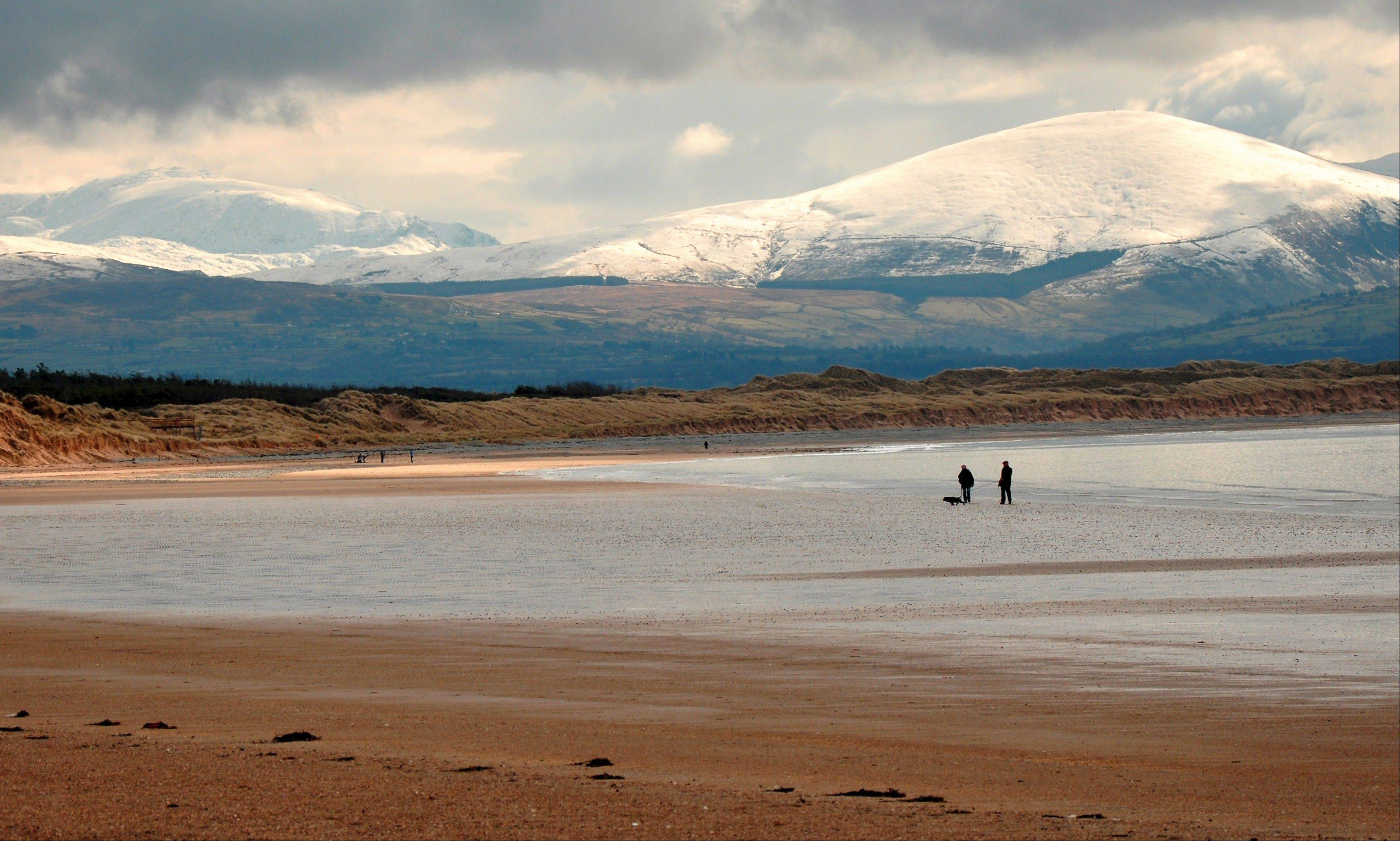 A broad, sandy beach stretches along the Irish Sea on the fringes of Newborough Forest in Wales. The mountains of Snowdonia National Park rise in the distance, often capped with snow until June.