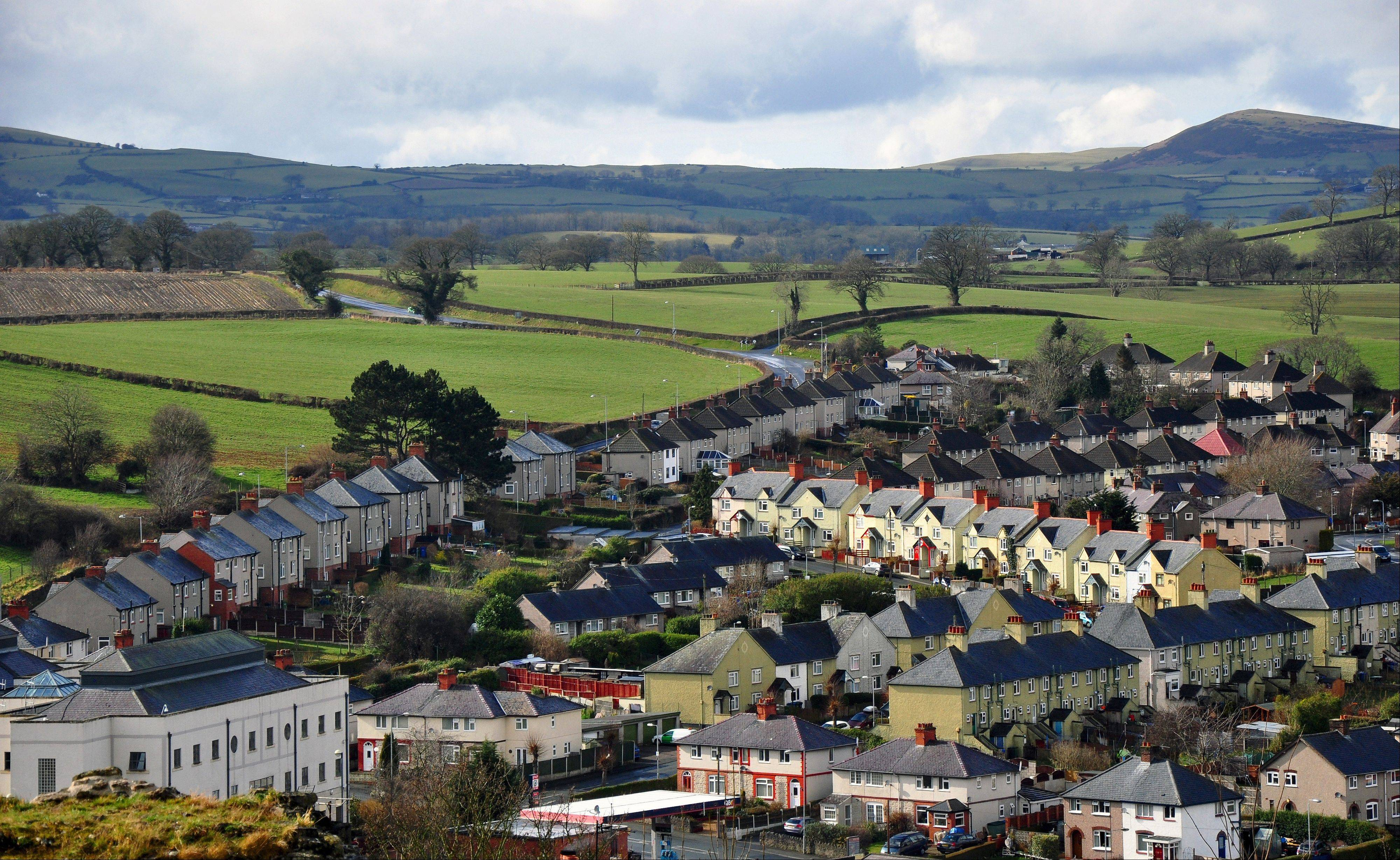 Houses line up in pretty rows in the town of Denbigh in the North Wales Borderlands.