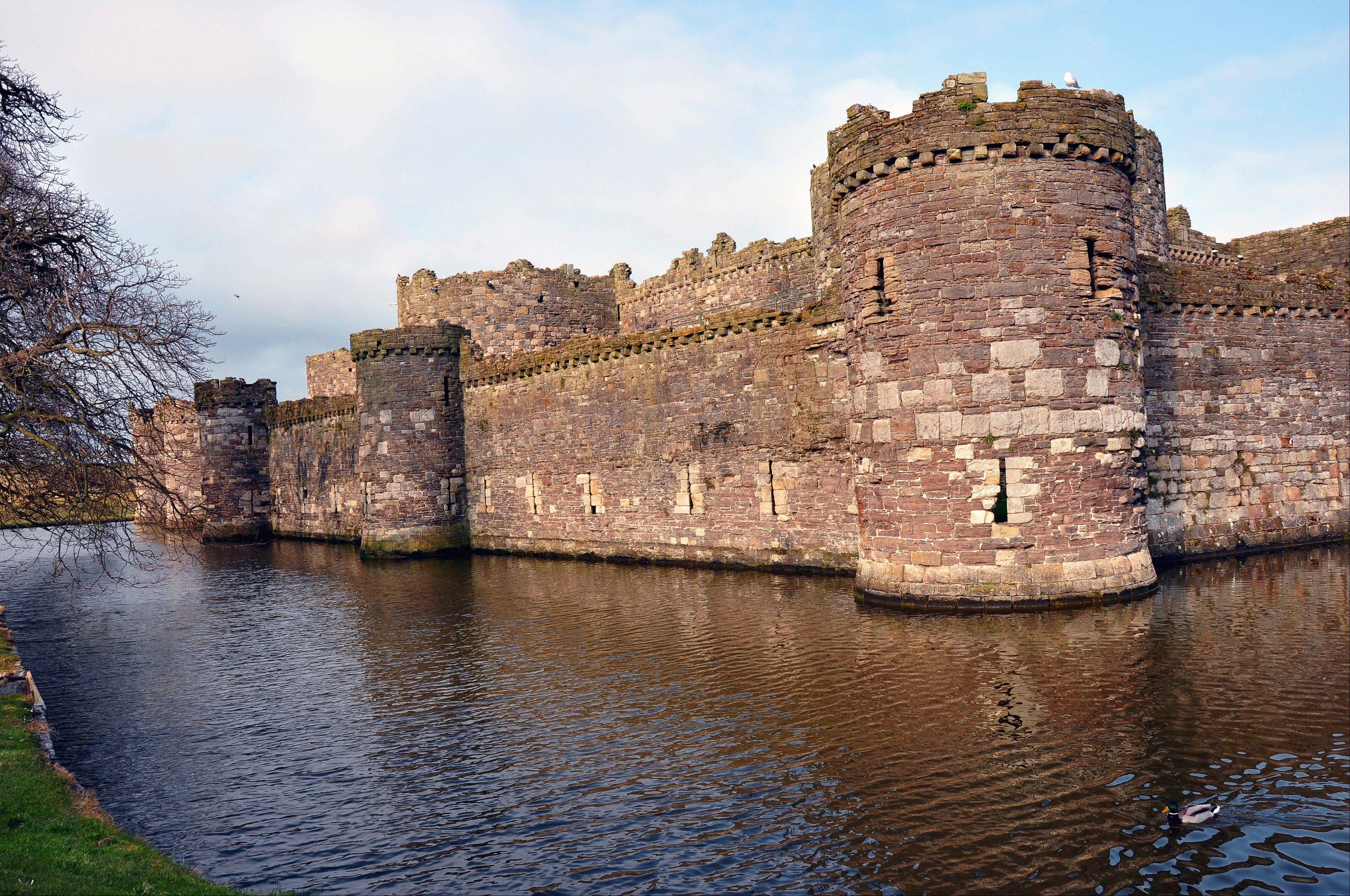 A moat surrounds Beaumaris Castle on Anglesey Island in North Wales. It's considered the most technically correct medieval castle in all of Britain.