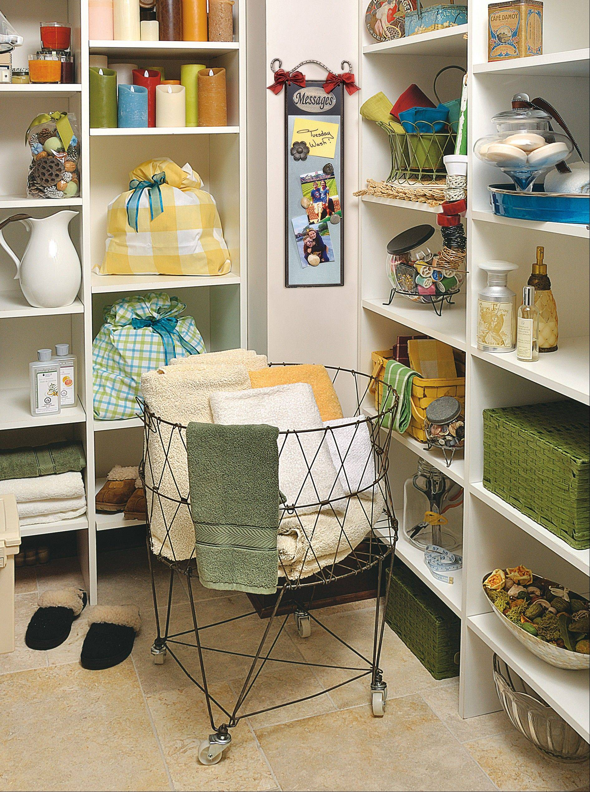 Jamie Adcock is lucky enough to have a linen closet adjacent to her mudroom. There she has a corner with simple shelving that allows her clever organization tricks to shine.
