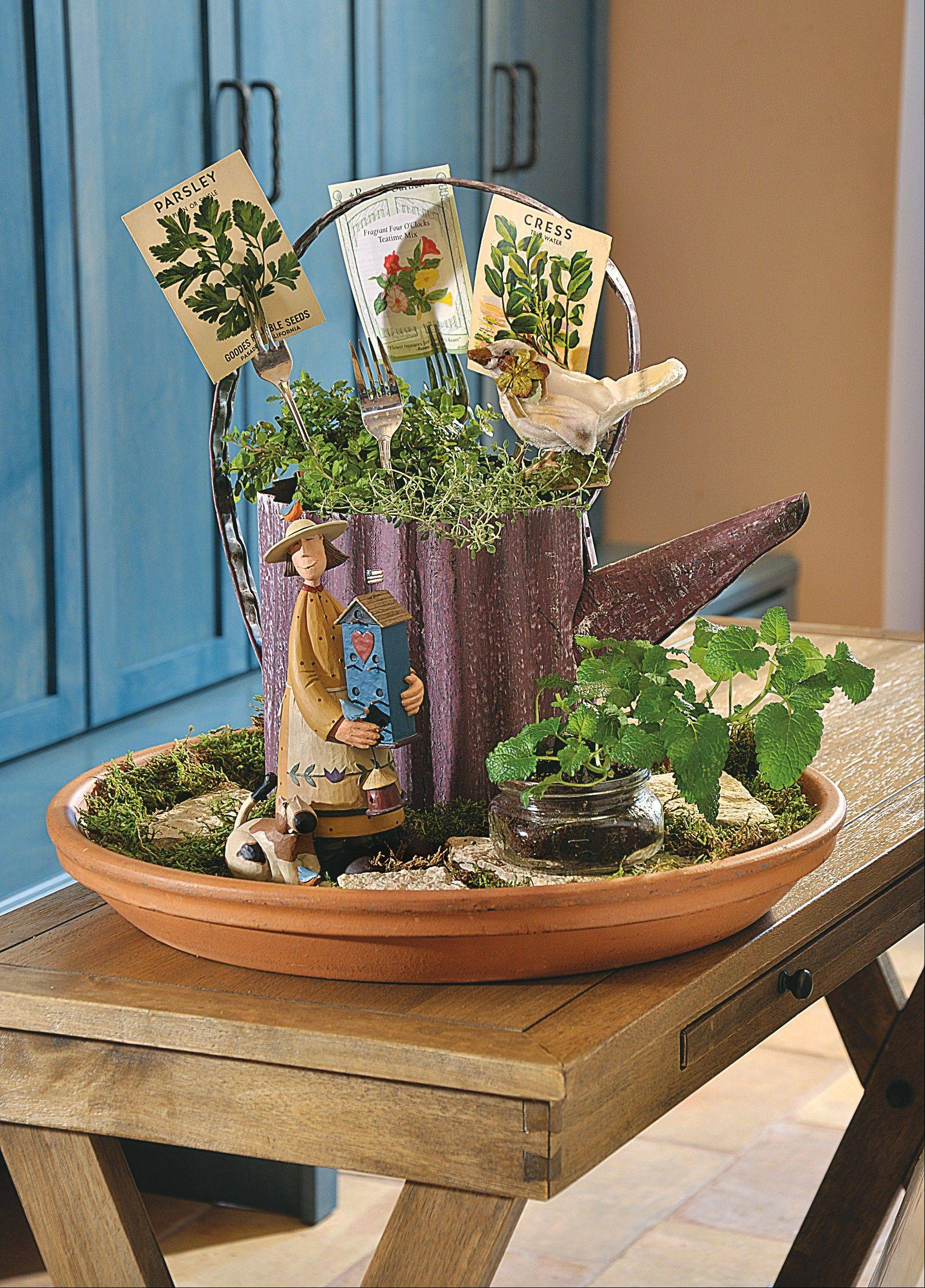 An accent table with a little bit of personality. This a garden-themed grouping features some seed packets woven through fork tines.