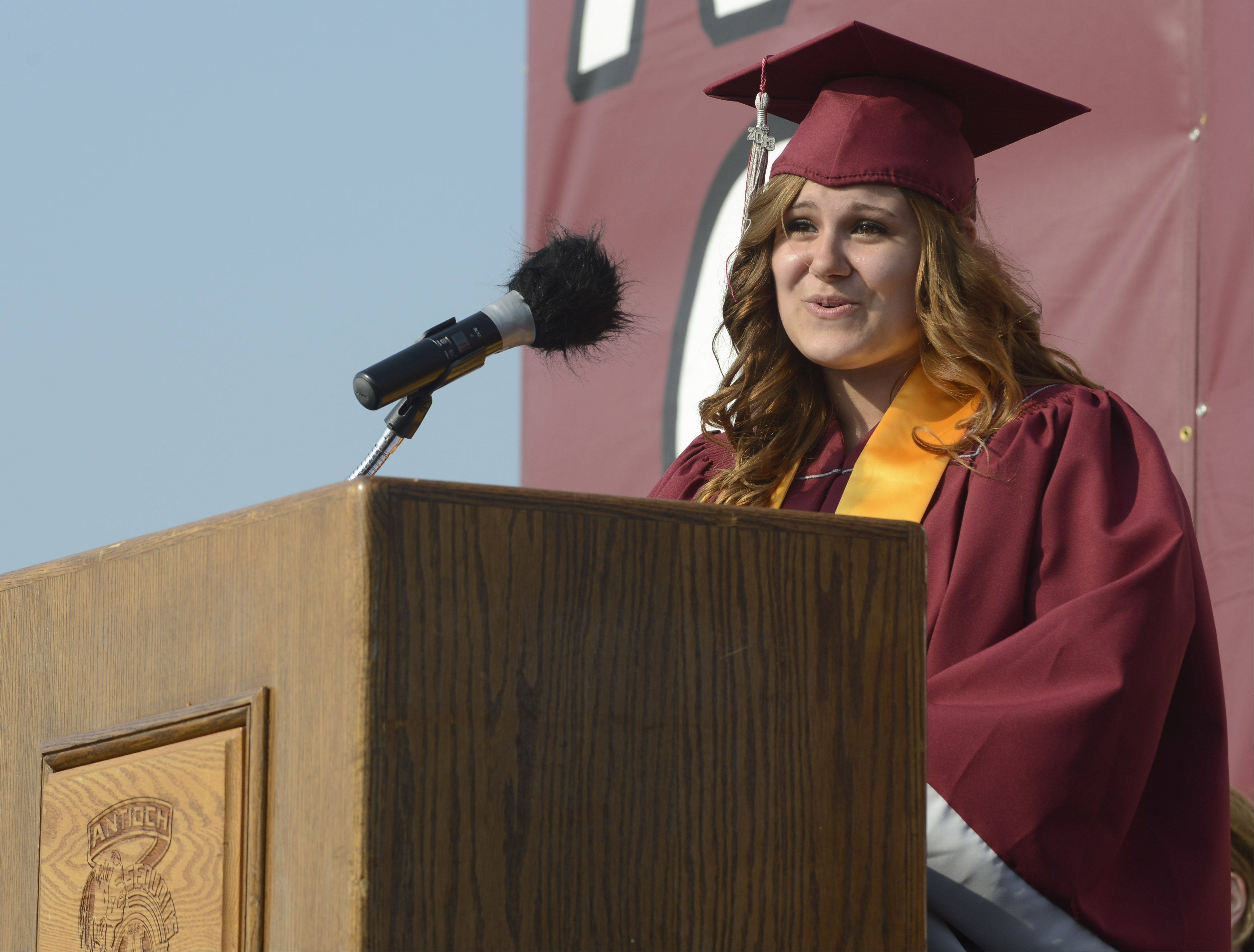 Alexandria Otter delivers her speech during the Antioch High School graduation Sunday.
