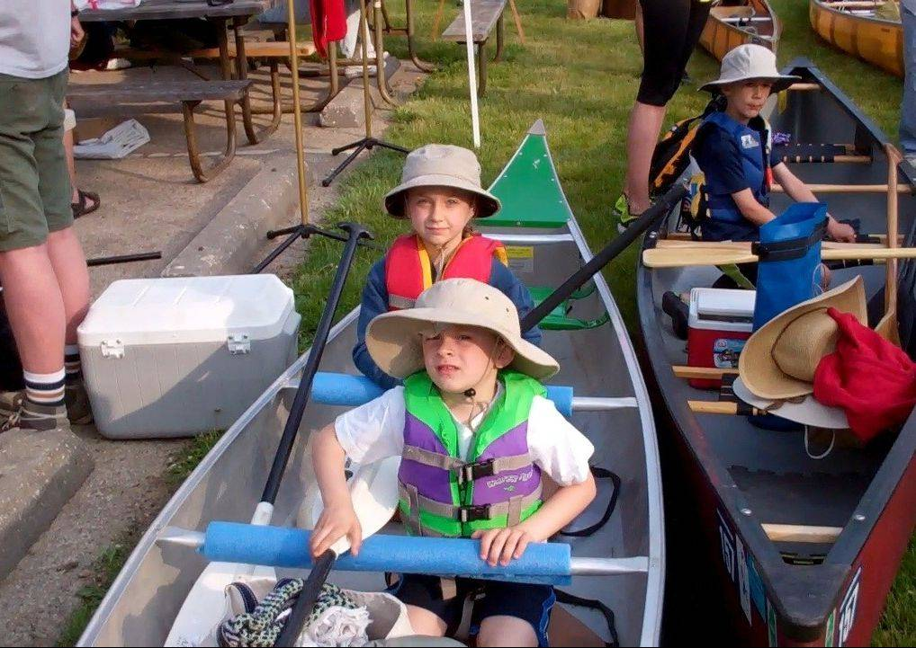 Paige Espeseth, 8, and Ben Espeseth, 5, of Chicago, get ready to ride the Des Plaines River on Sunday during the 56th Annual Des Plaines River Canoe and Kayak Marathon.