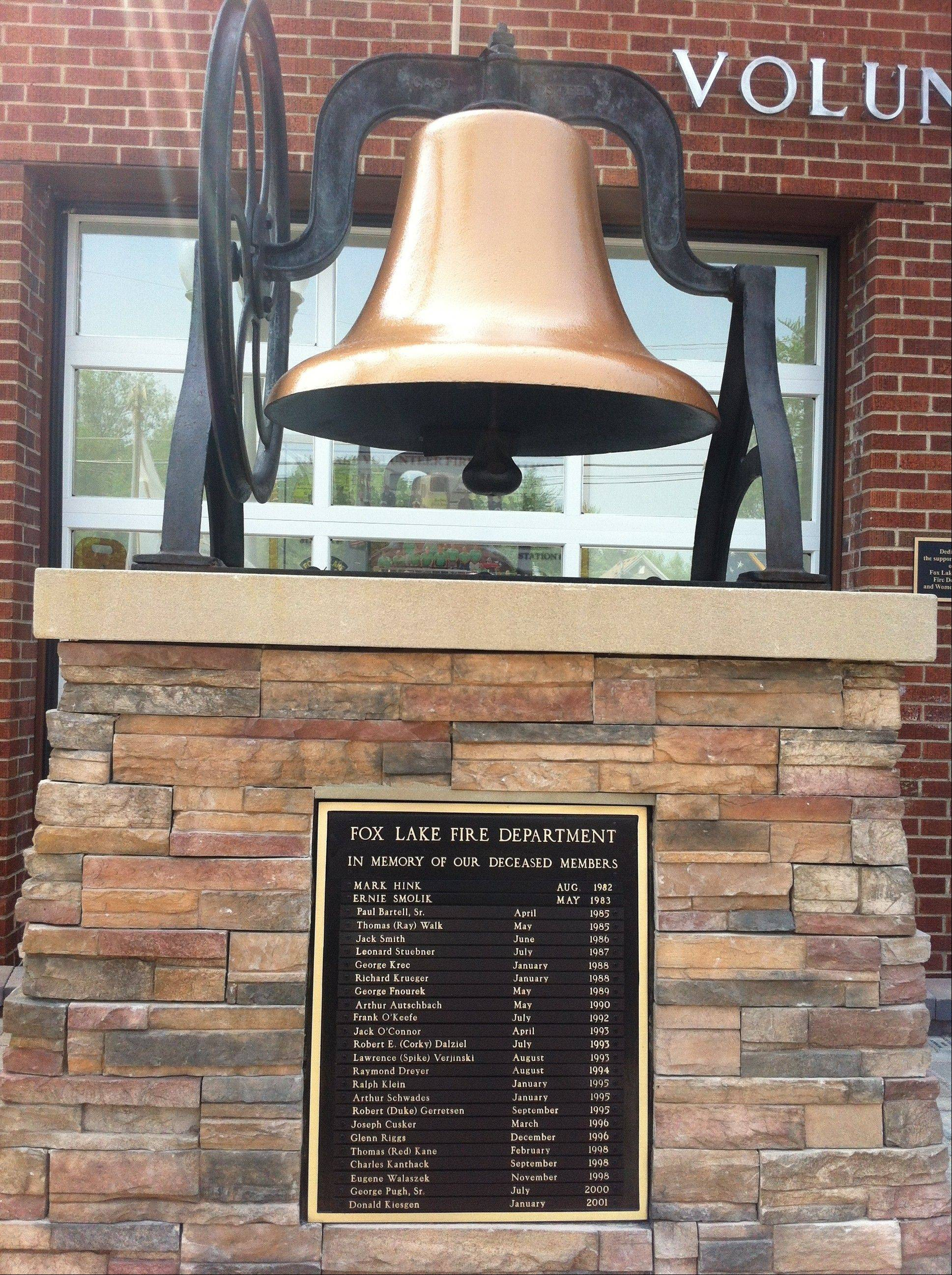 The original bell from the first Fox Lake Fire Department is now part of the memorial dedicated Sunday.