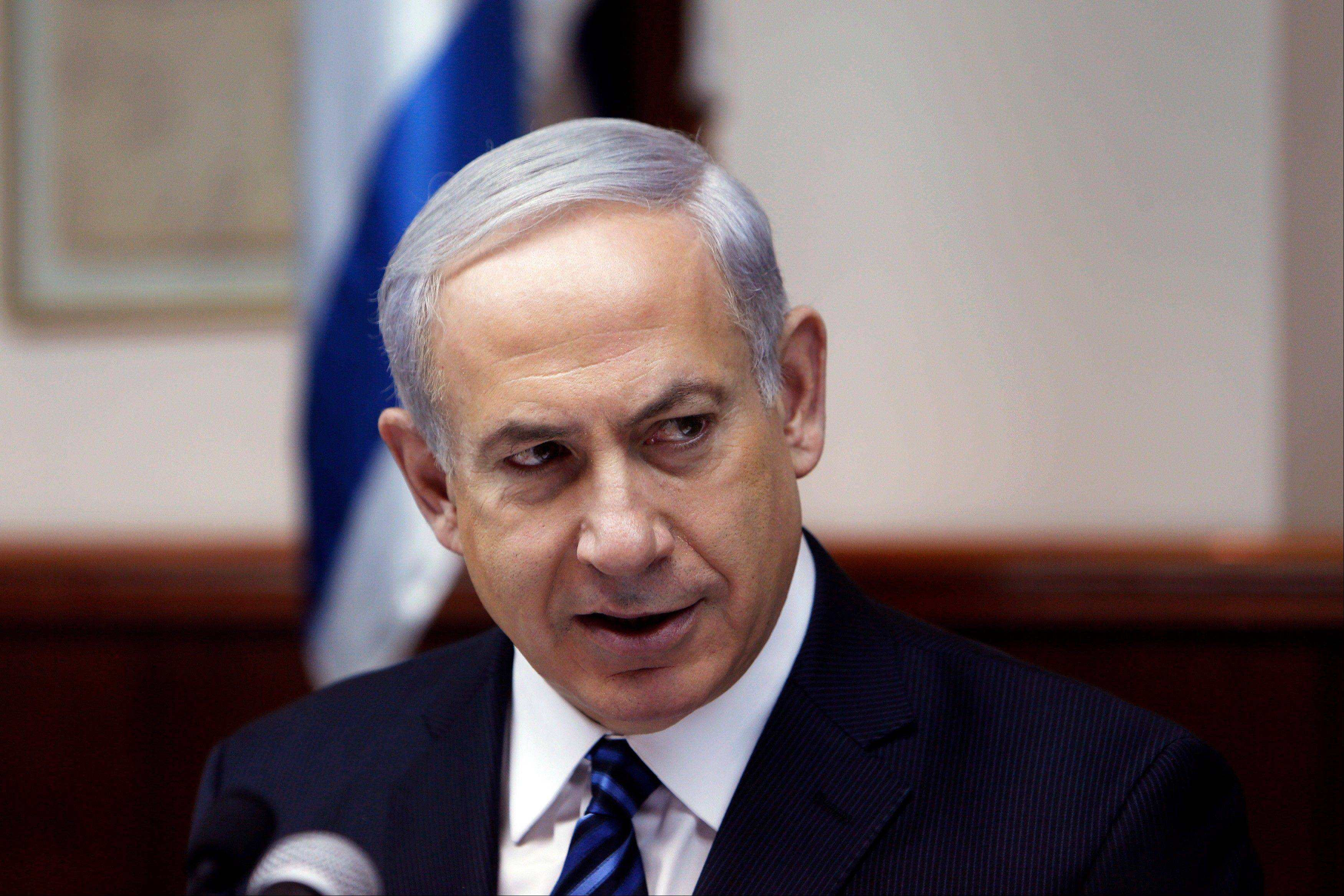 Israel's Prime Minister Benjamin Netanyahu speaks during the weekly cabinet meeting in Jerusalem Sunday.
