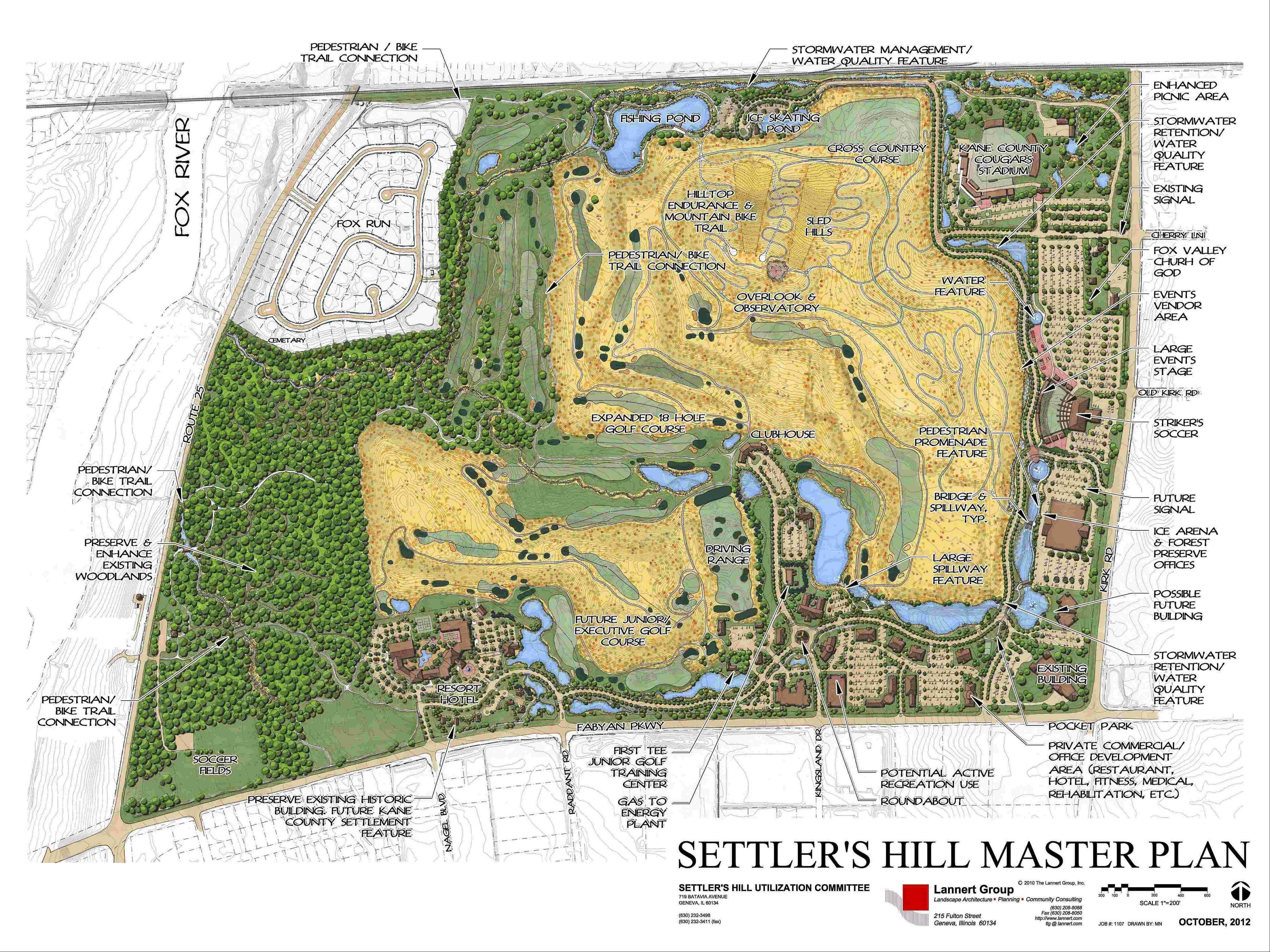 The proposed redevelopment of the former Settler's Hill landfill would occur in 11 phases. A study of the costs and potential revenues is still pending, but county officials say they're eager to move the work forward.