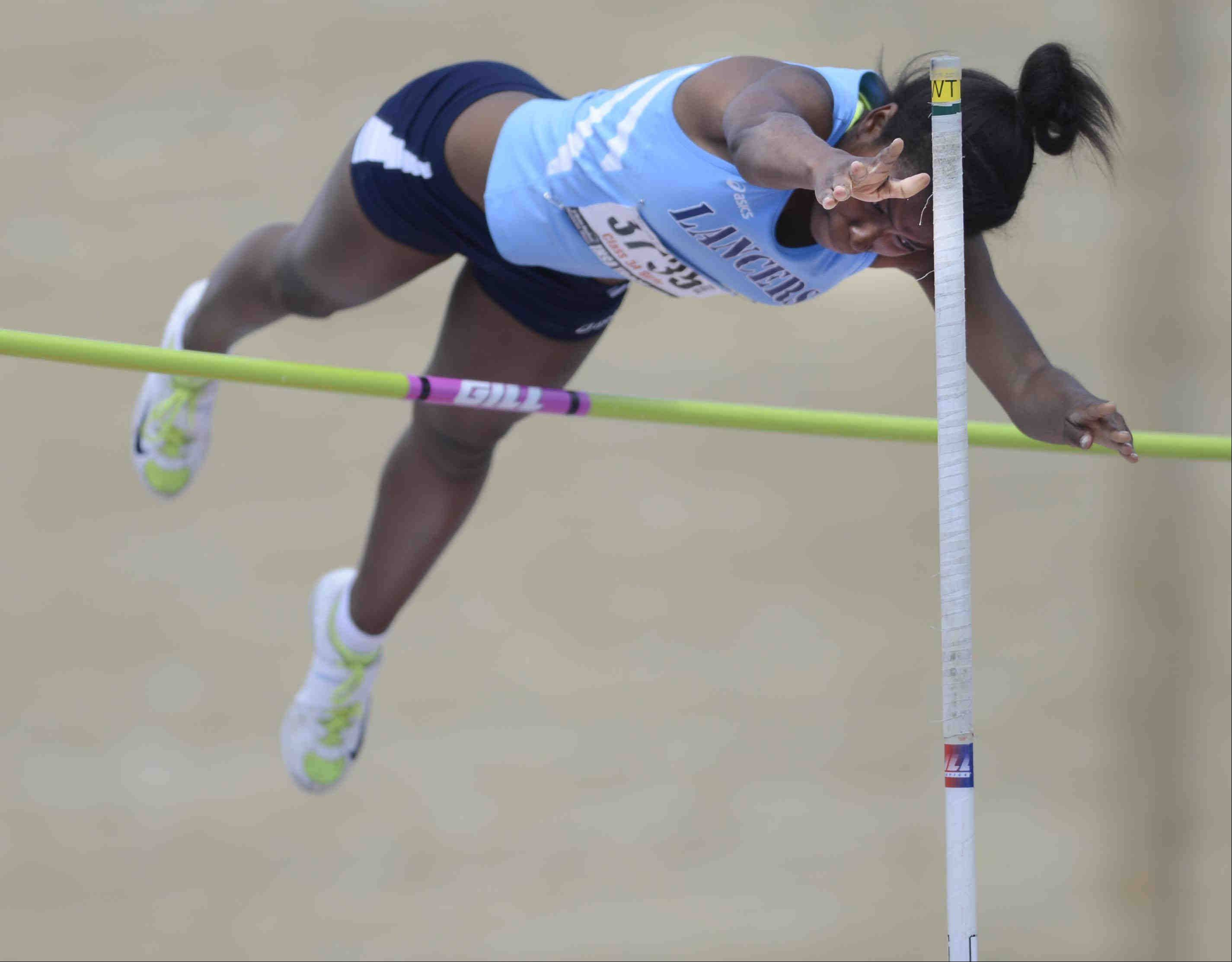 John Starks/jstarks@dailyherald.com Lake Park's Maya Golliday placed fourth in the pole vault Saturday at the Class 3A girls state track and field finals at O'Brien Stadium at Eastern Illinois University in Charleston.