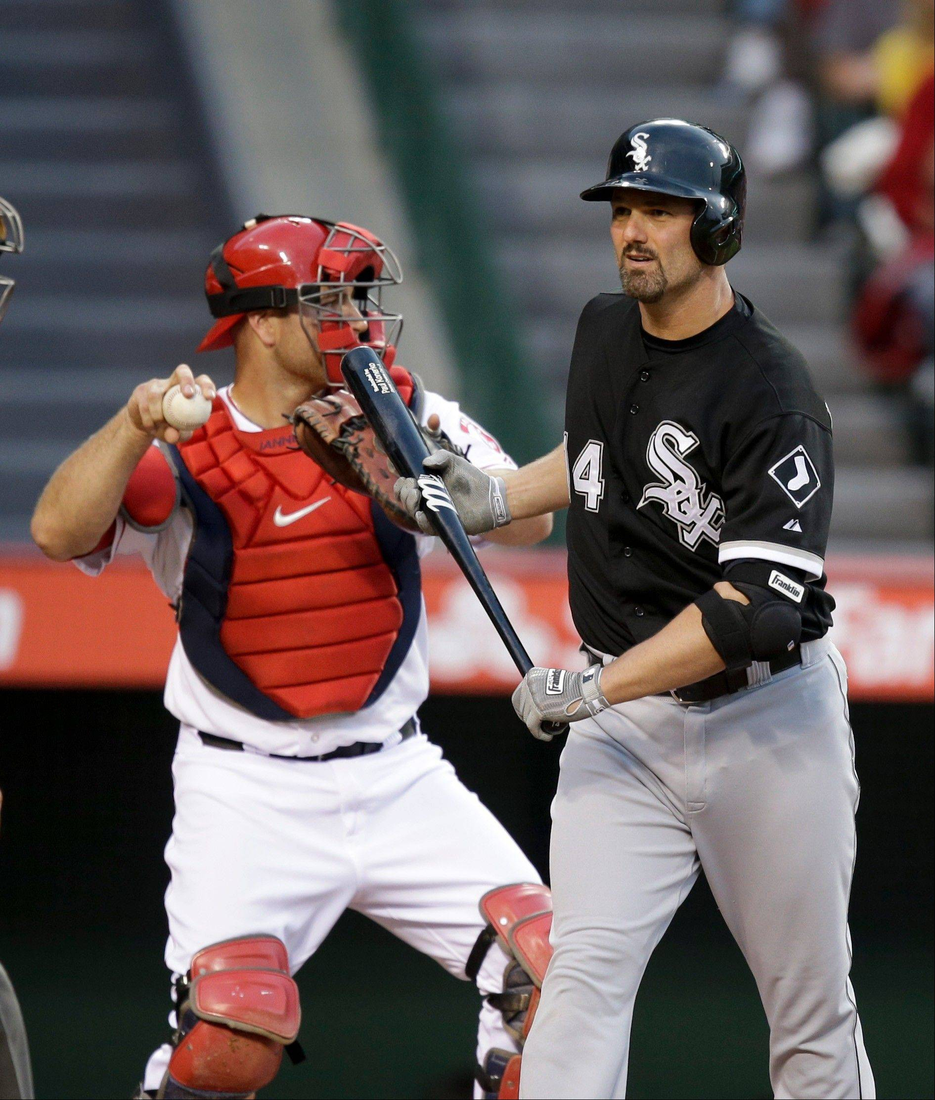 The White Sox� Paul Konerko reacts after striking out against the Angels during the just-completed weekend series.