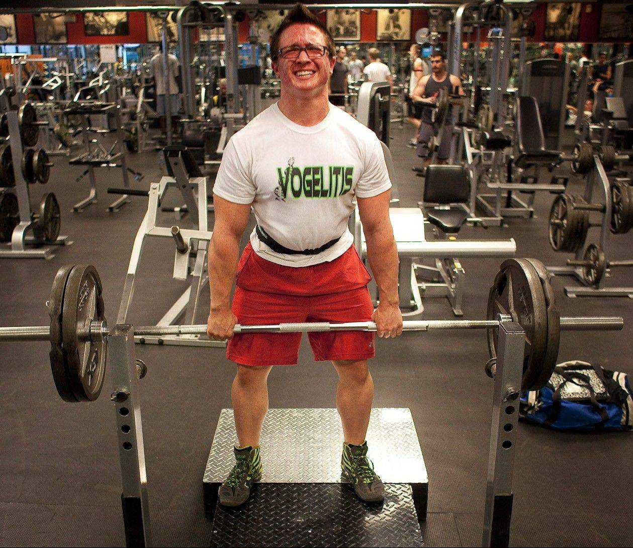 Josh Vogel, who participated in his first power-lifting contest in January, works out at a gym.