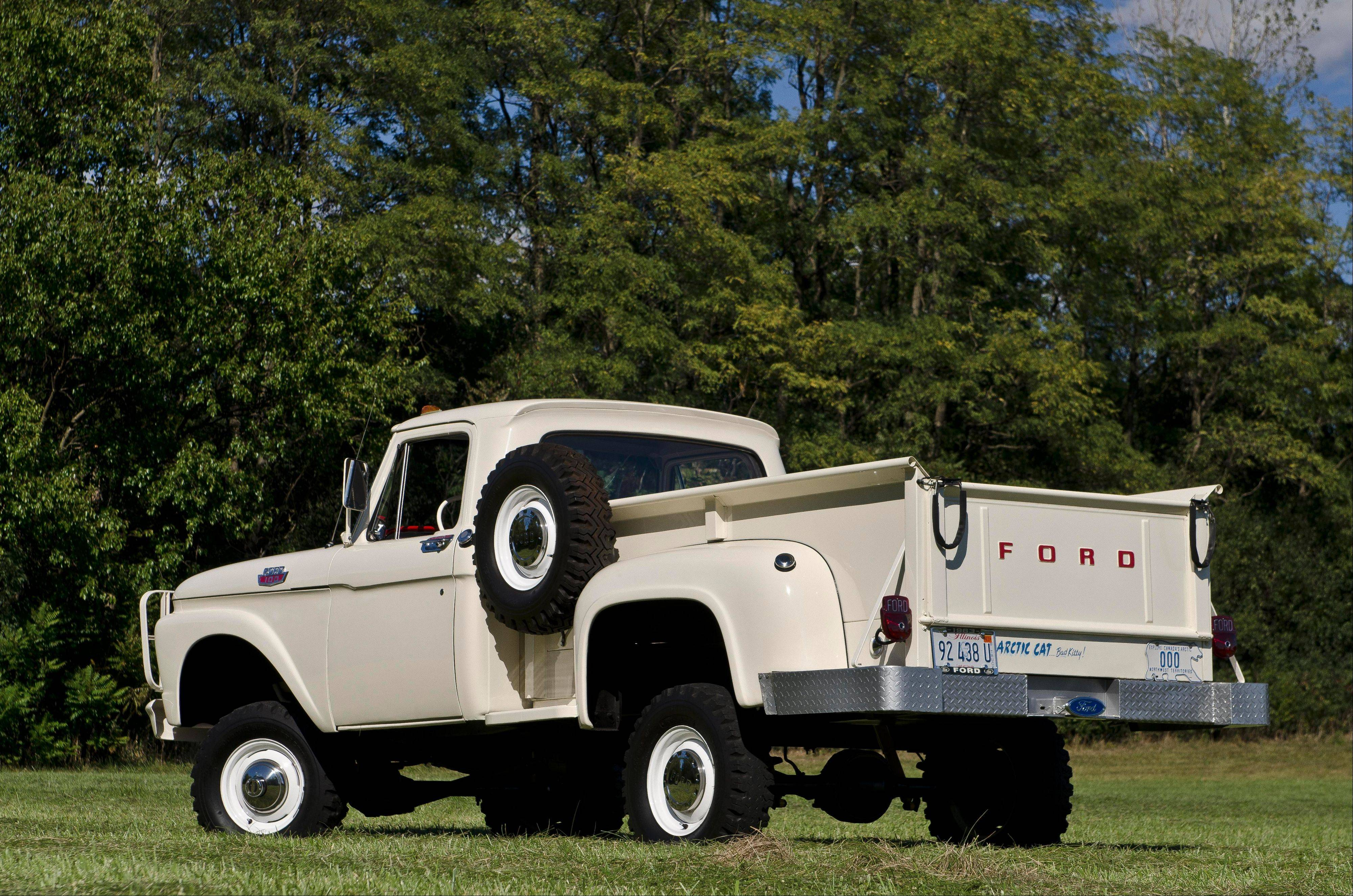 This 1963 Ford F100 4x4 pickup is capable of hauling a 9,000-pound payload.