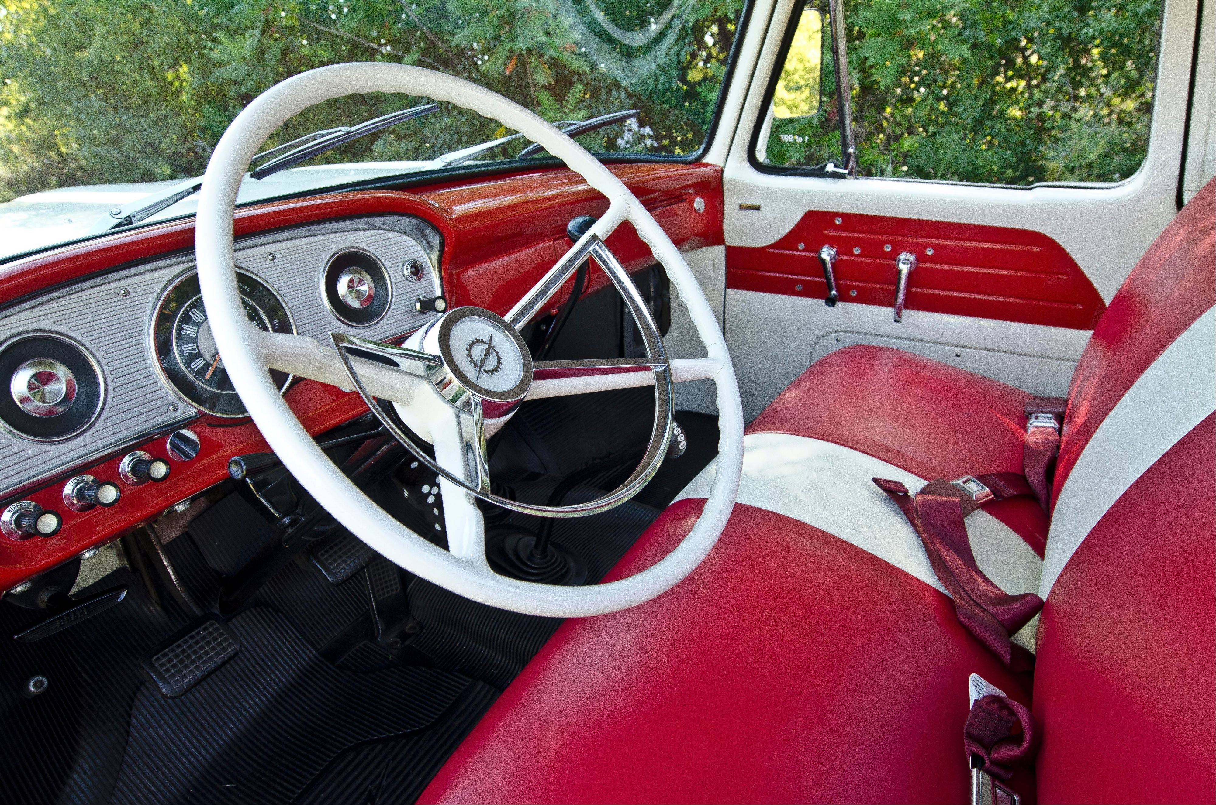 The truck's Custom Cab package included such upgrades as thicker seating and a two-toned red and white interior.