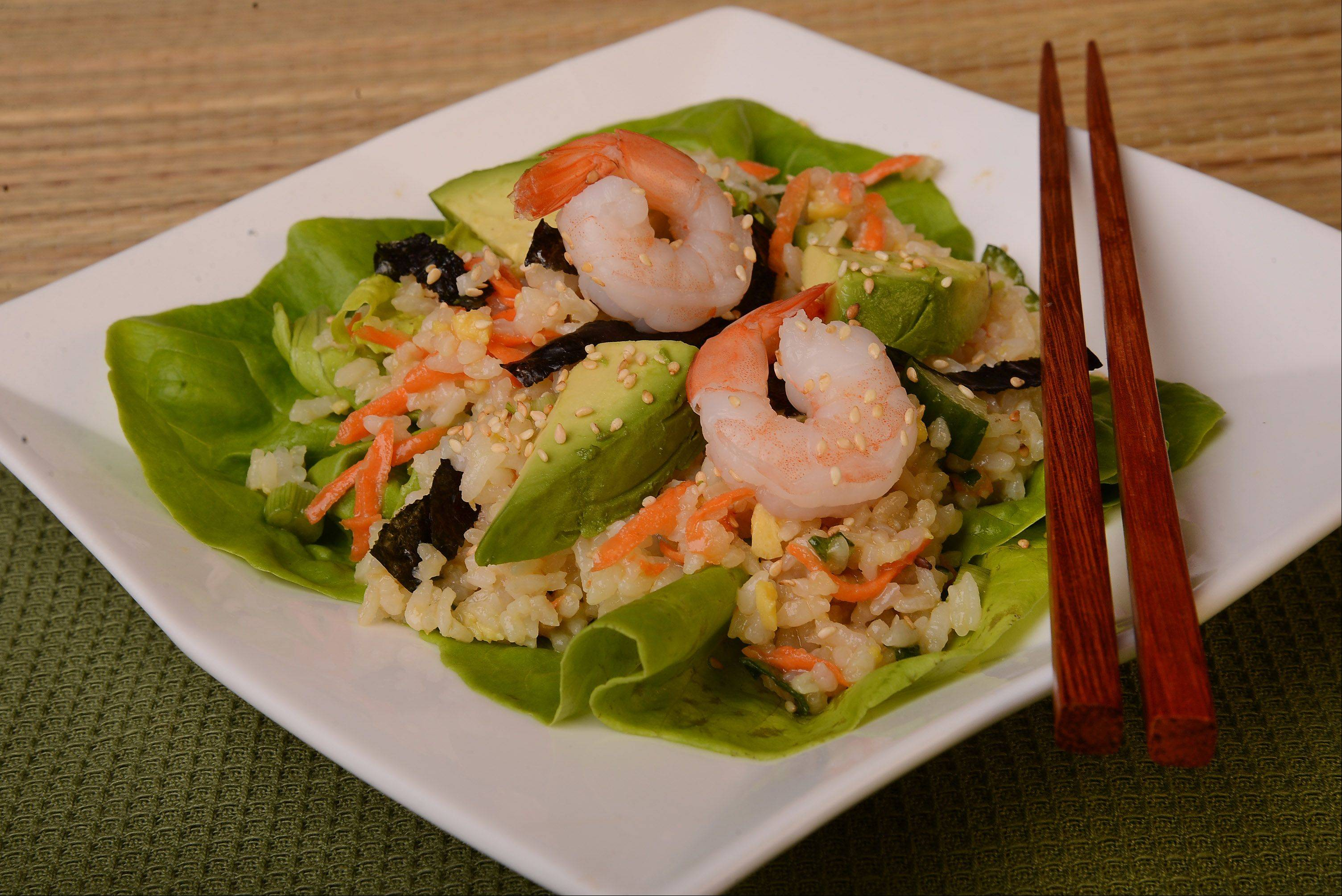 For all the flavor of California rolls at home without the hassle, toss the ingredients with some lettuce and enjoy as a salad.