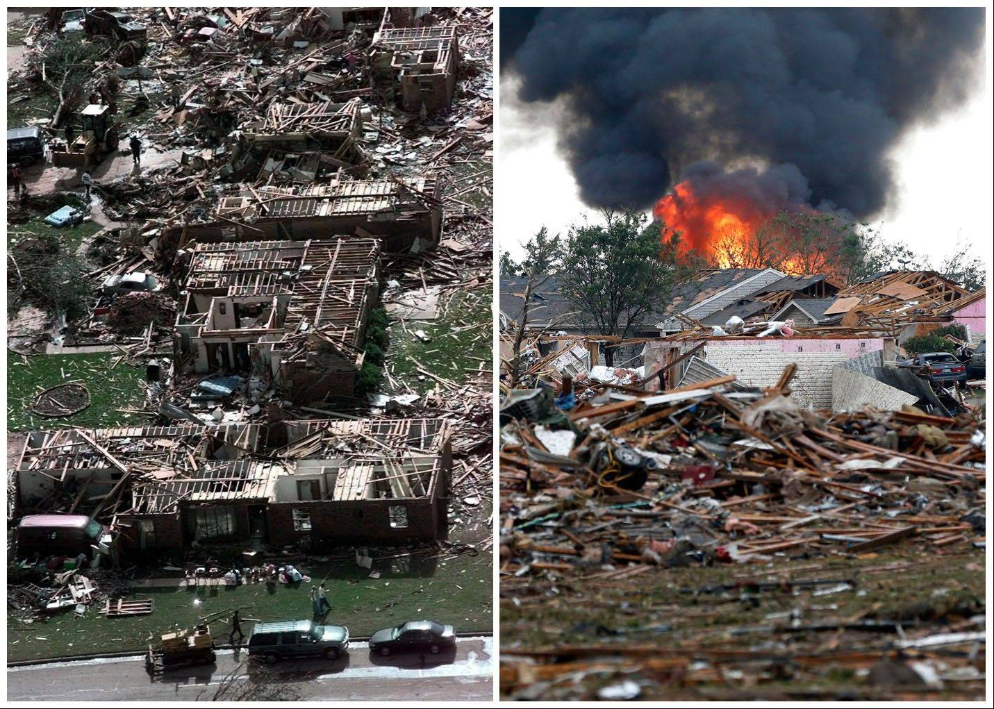 This combination of Associated Press photos shows left, a neighborhood in Moore, Okla., in ruins on Tuesday, May 4, 1999, after a tornado flattened many houses and buildings in central Oklahoma, and right, flattened houses in Moore on Monday, May 20, 2013. Monday's powerful tornado in suburban Oklahoma City loosely followed the path of a killer twister that slammed the region in May 1999.