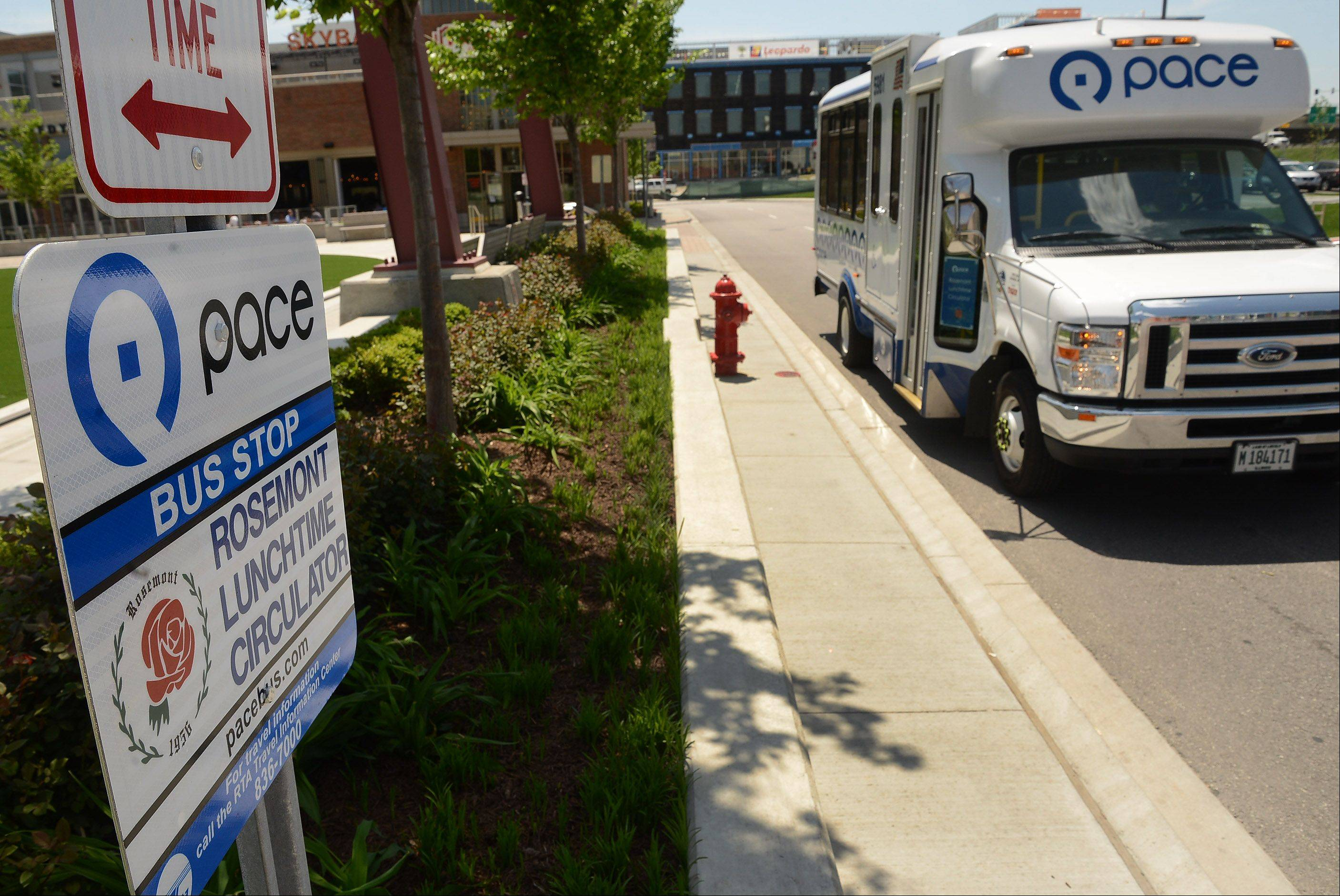 The Pace Rosemont Lunchtime Circulator makes its rounds through the MB Financial Park at Rosemont entertainment district. The free service launched Monday.