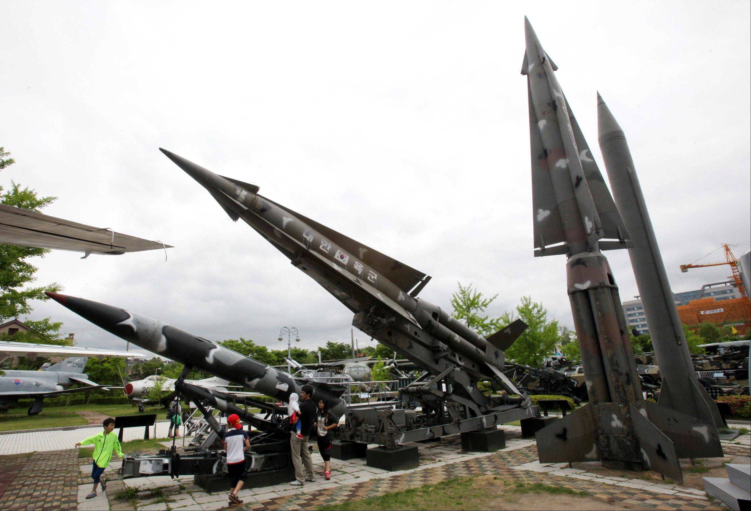 A mock Scud-B missile of North Korea, right, and other South Korean missiles are displayed at Korea War Memorial Museum in Seoul, South Korea, Sunday, May 19, 2013. North Korea fired a projectile into waters off its eastern coast Sunday, a day after launching three short-range missiles in the same area, officials said.
