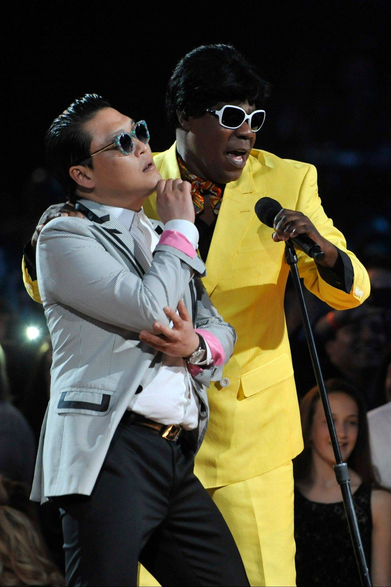 "Tracy Morgan, right, and Psy participate in a ""dance-off"" at the Billboard Music Awards at the MGM Grand Garden Arena on Sunday, May 19, 2013 in Las Vegas."