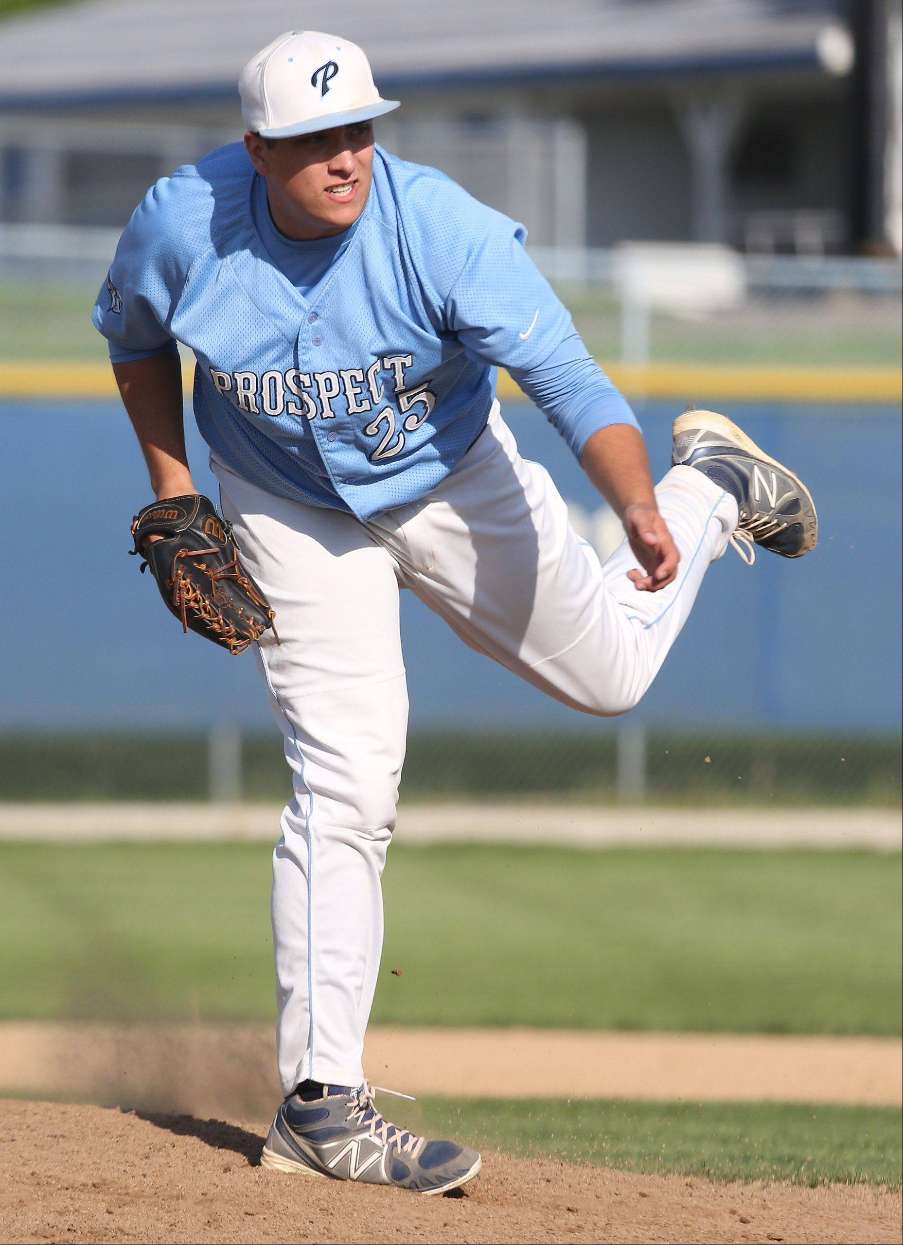 Prospect's Zach Smith delivers against host Lake Zurich during Class 4A regional action Monday at Lake Zurich.
