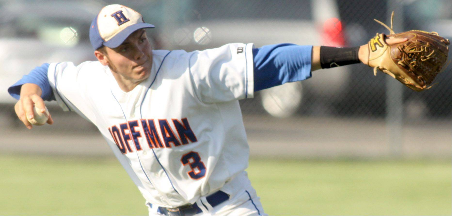 Hoffman Estates' Ethan Bloom fires to first for an out at Elgin on Monday.