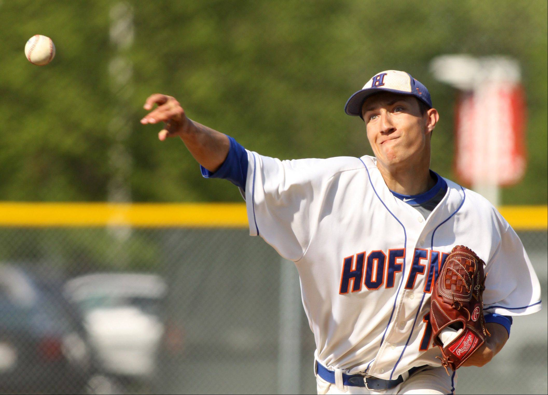 Hoffman Estates hurler Jimmy Ward delivers during Monday's Class 4A regional contest at Elgin.