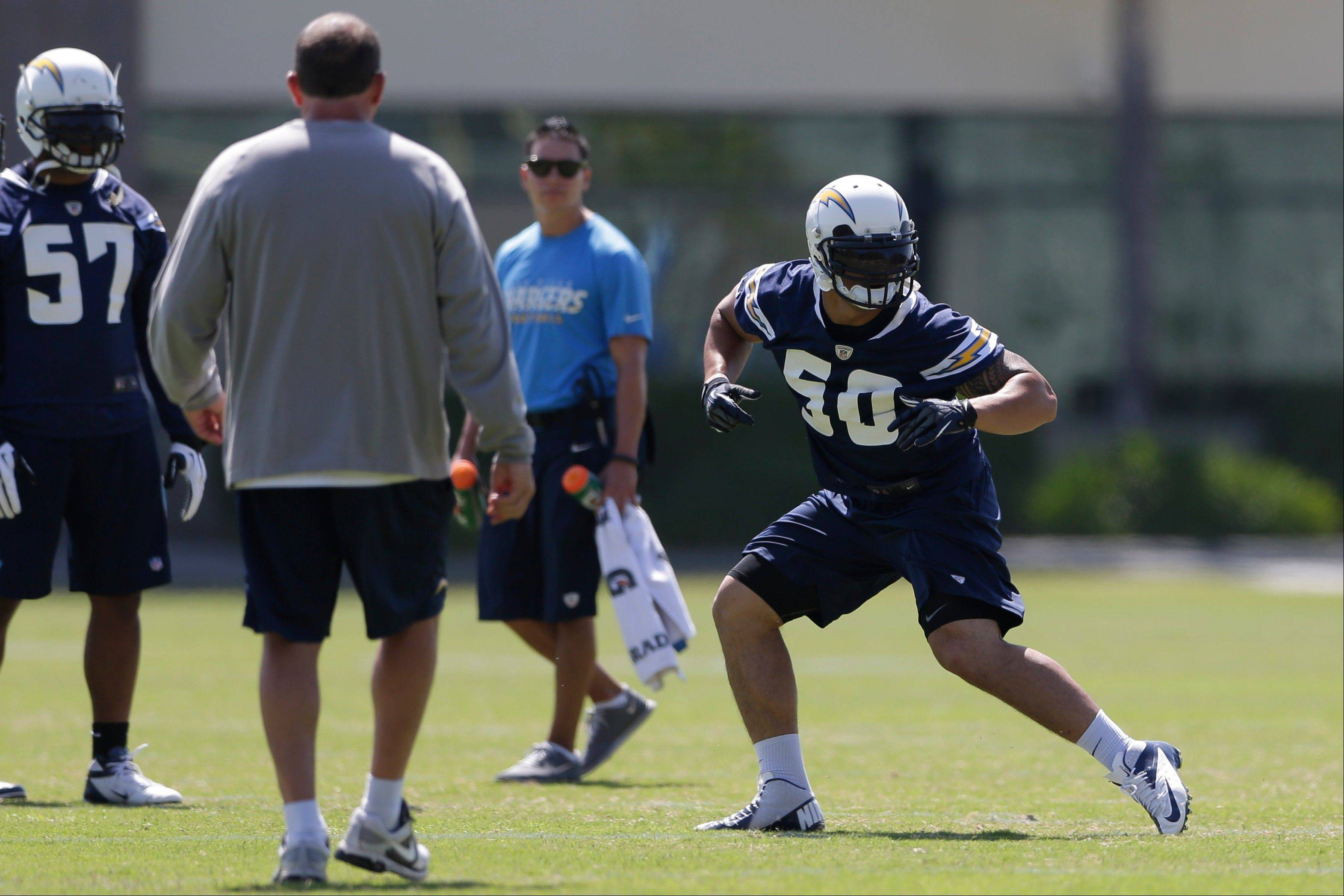 San Diego Chargers rookie linebacker Manti Te'o, right, runs a drill during Chargers training camp Monday, May 20, 2013, in San Diego.