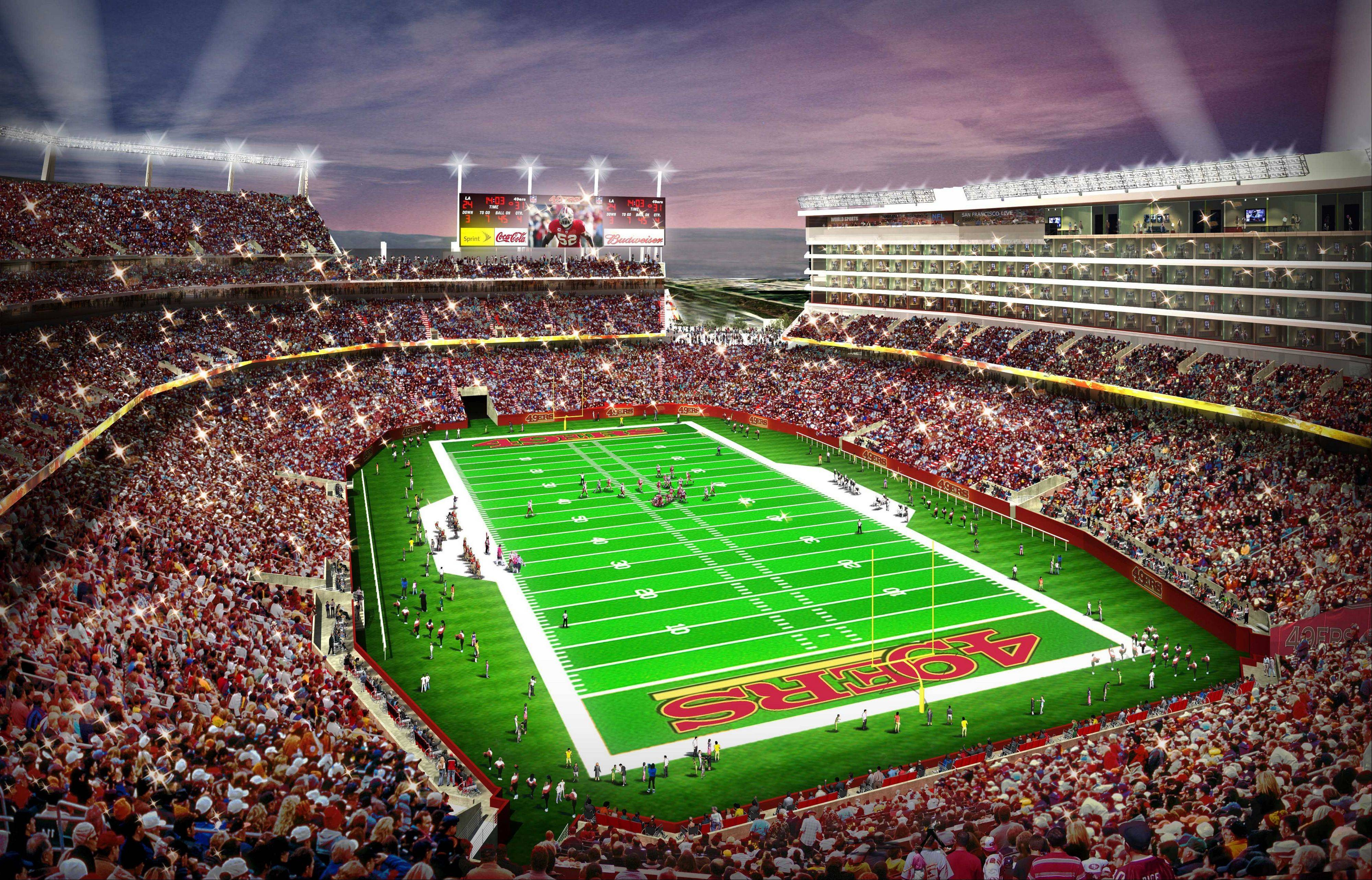 In this artist drawing provided by the San Francisco 49ers, the proposed 49ers stadium in Santa Clara, Calif. is shown. NFL owners will vote on the sites of the 50th and 51st Super Bowls on Tuesday, May 21, 2013 at their spring meetings. The San Francisco area, where the new stadium is being built in Santa Clara, and South Florida are competing for the the 50th edition, to be held in February 2016.