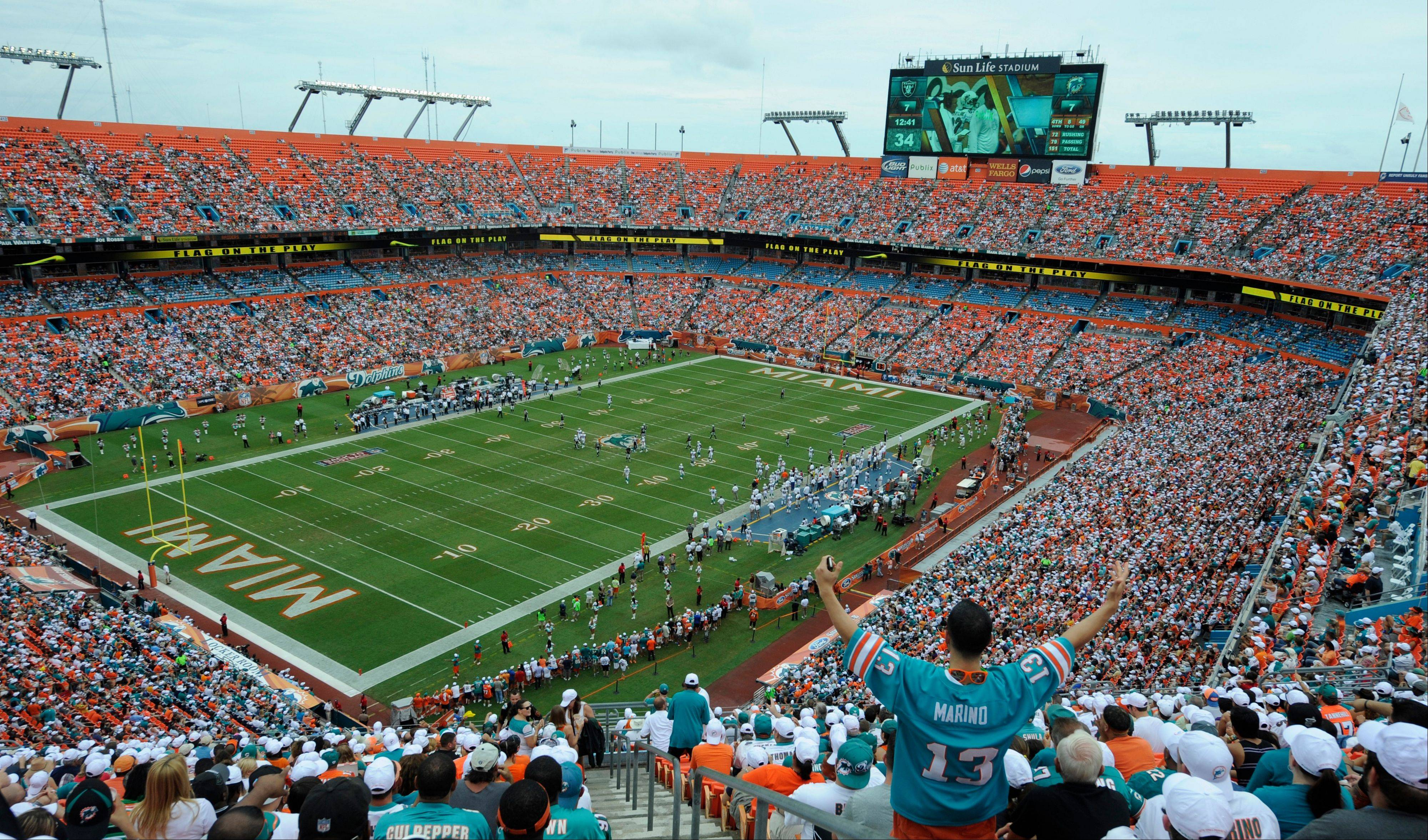 This Sept. 16, 2012 file photo shows a general view of Sun Life Stadium during the first half of an NFL football game between the Miami Dolphins and Oakland Raiders in Miami. NFL owners will vote on the sites of the 50th and 51st Super Bowls on Tuesday, May 21, 2013 at their spring meetings. The San Francisco area, where a new stadium is being built in Santa Clara, and South Florida are competing for the the 50th edition, to be held in February 2016.