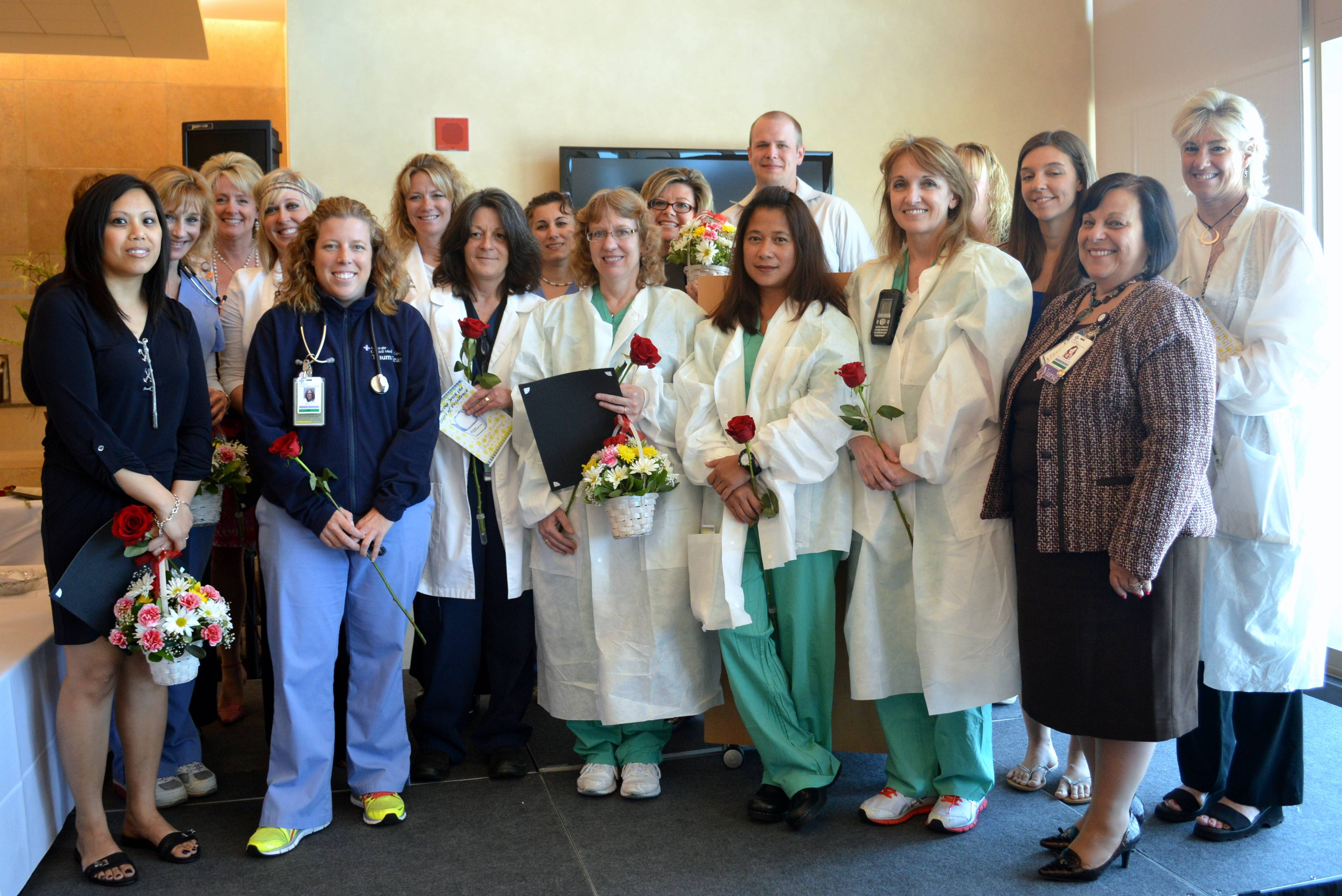 Nominated nurses gather at Advocate Condell's annual award ceremony during National Nurses Week.
