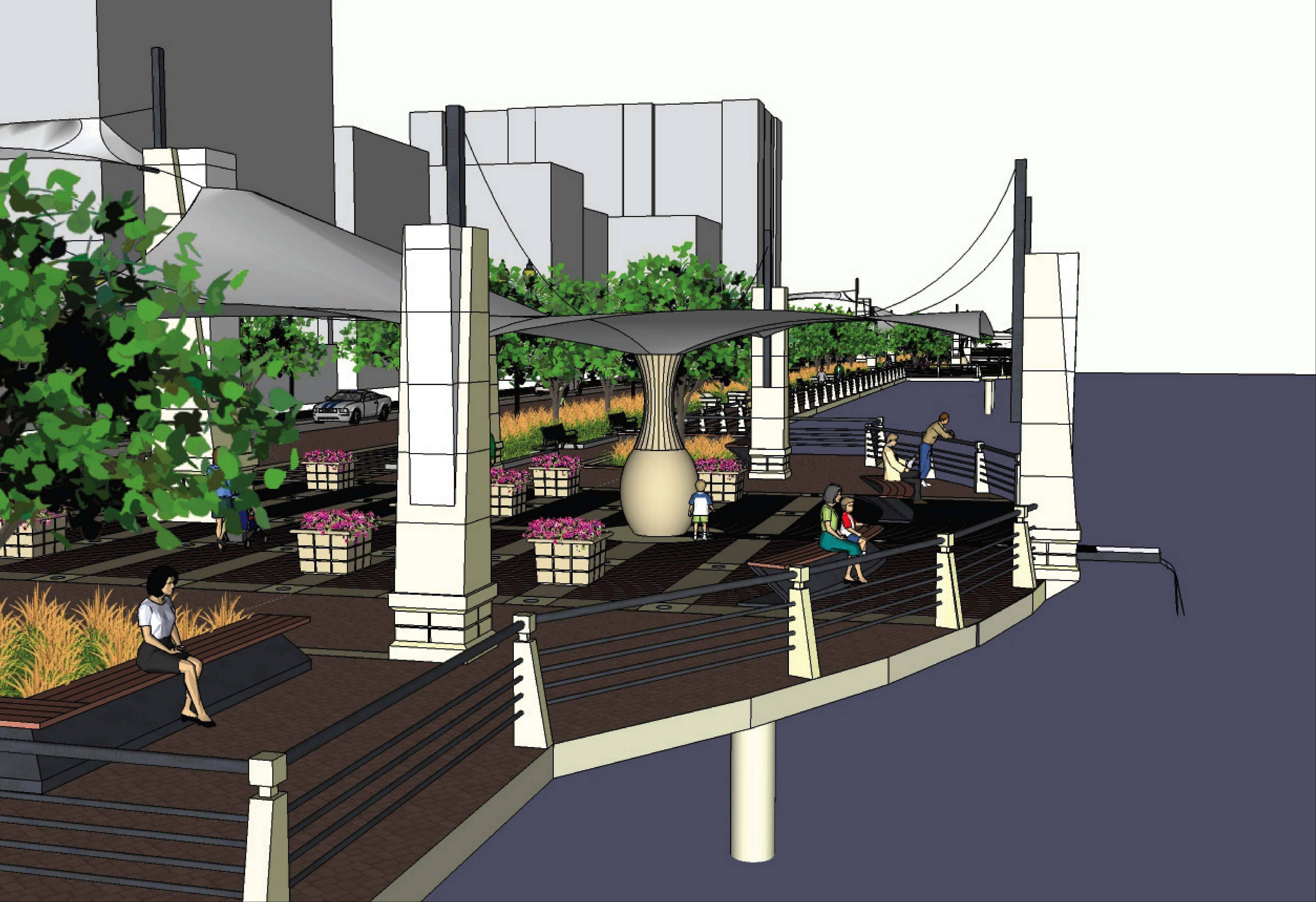 This is how Elgin officials envision the completed version of the Riverside Drive Promenade.