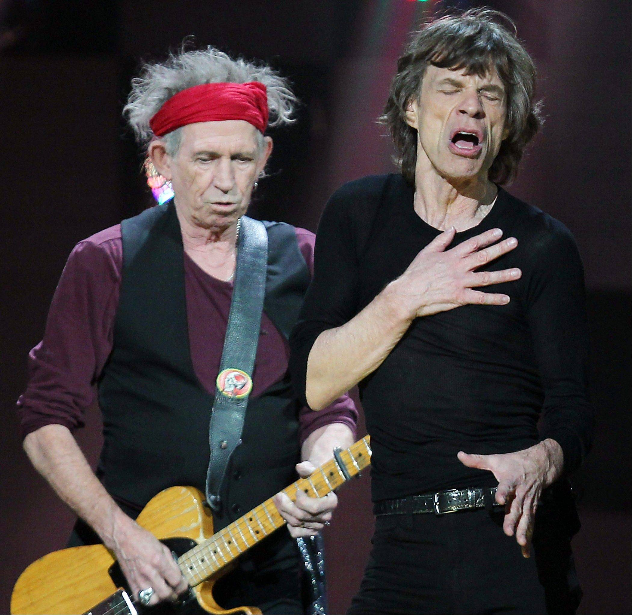 The Rolling Stones, featuring Keith Richards, left, and Mick Jagger, will perform at the United Center in Chicago on Tuesday, May 28, Friday, May 31, and Monday, June 3.