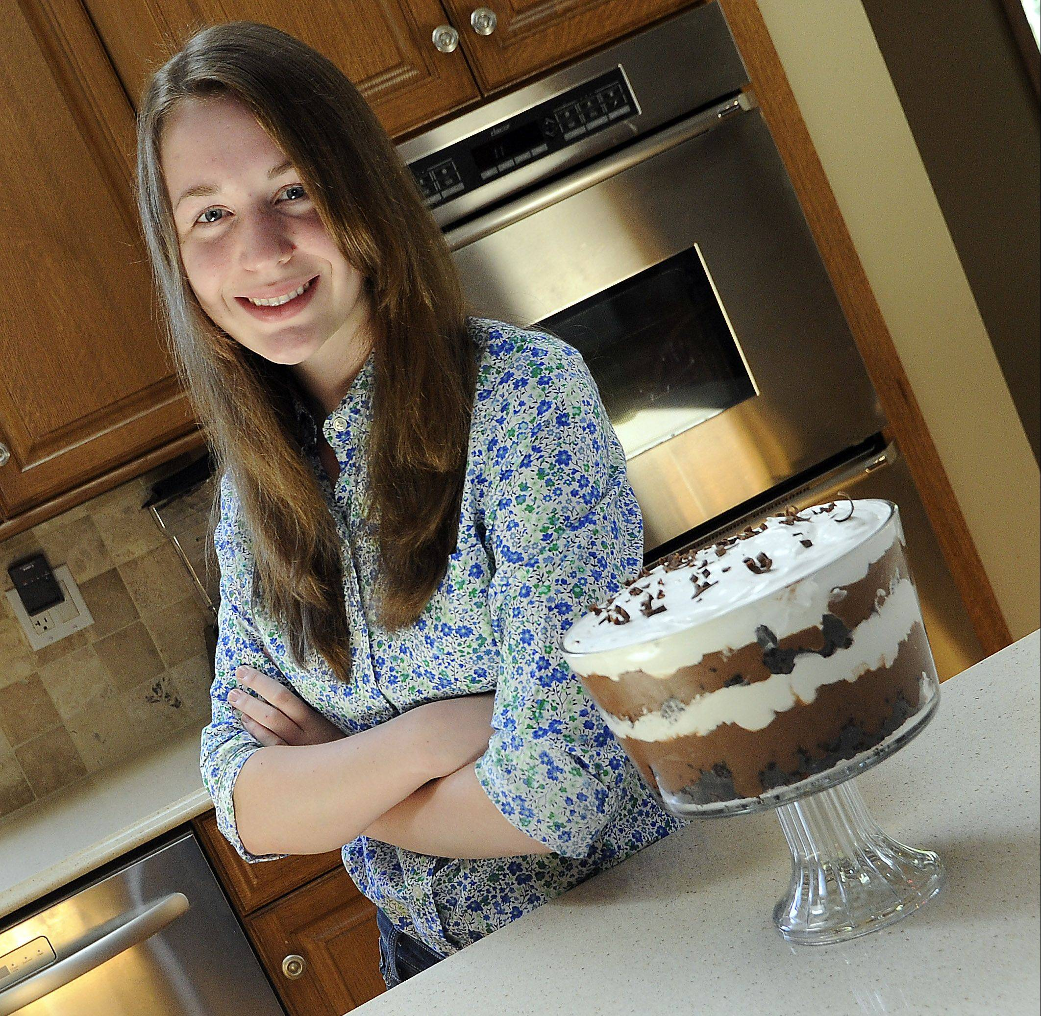 At 16, Danaca Fiedler, is already a seasoned baker. Her Chocolate Mousse Trifle is a favorite among her parents and five siblings.