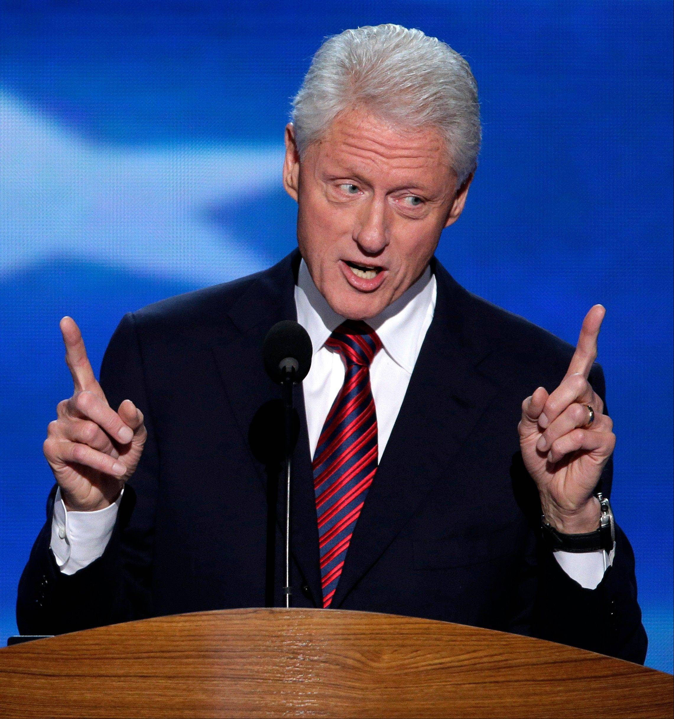 Former President Bill Clinton addresses the Democratic National Convention in Charlotte, N.C., on Sept. 5, 2012.