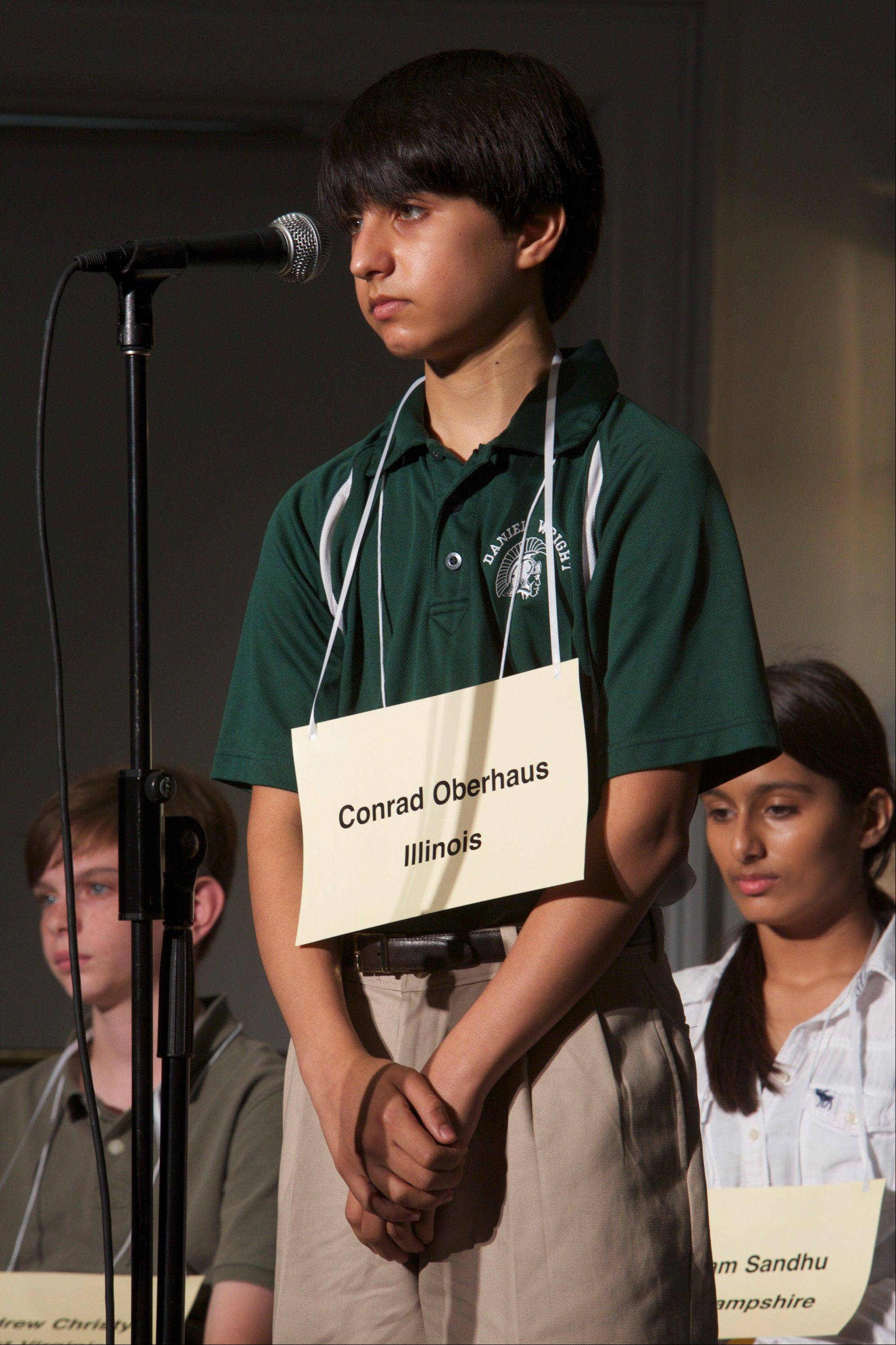 Conrad Oberhaus, a student at Daniel Wright Junior High in Lincolnshire, competes in a preliminary round of the 2013 National Geographic Bee on Monday in Washington, D.C.