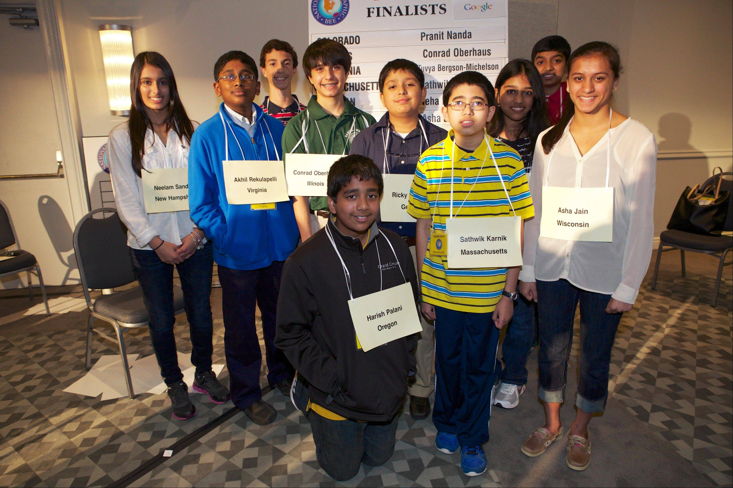 These are the 10 finalists in the 2013 National Geographic Bee, including Lincolnshire student Conrad Oberhaus in the green shirt.