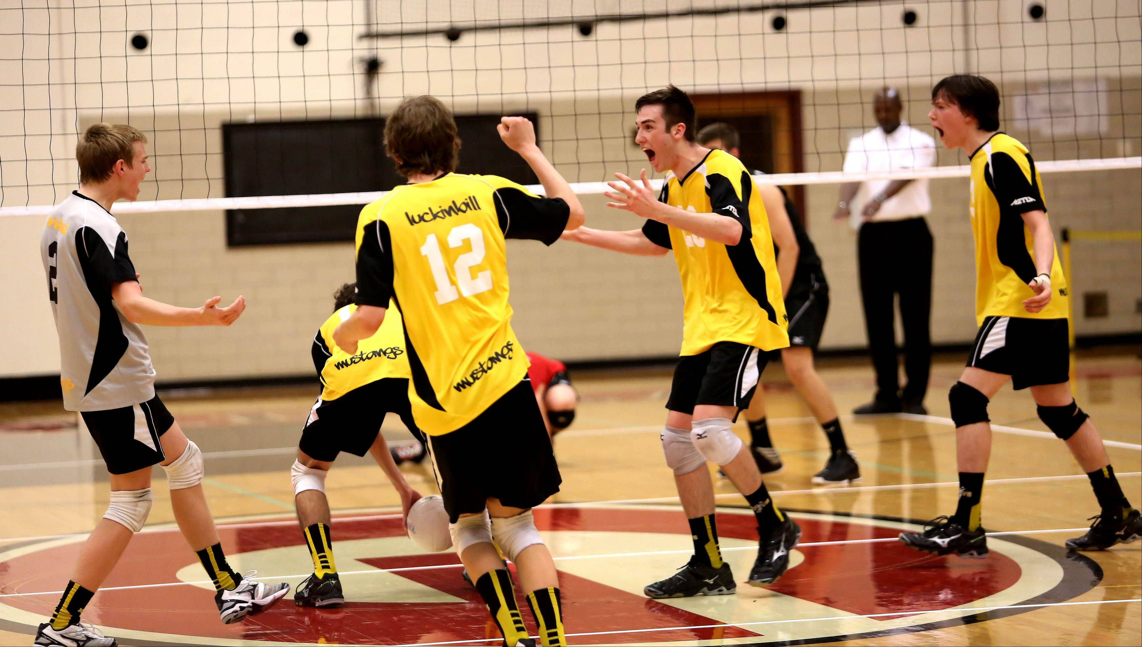 Metea Valley celebrate a point won in their 2-0 win over Glenbard East in boys regional volleyball action in Lombard in Tuesday.