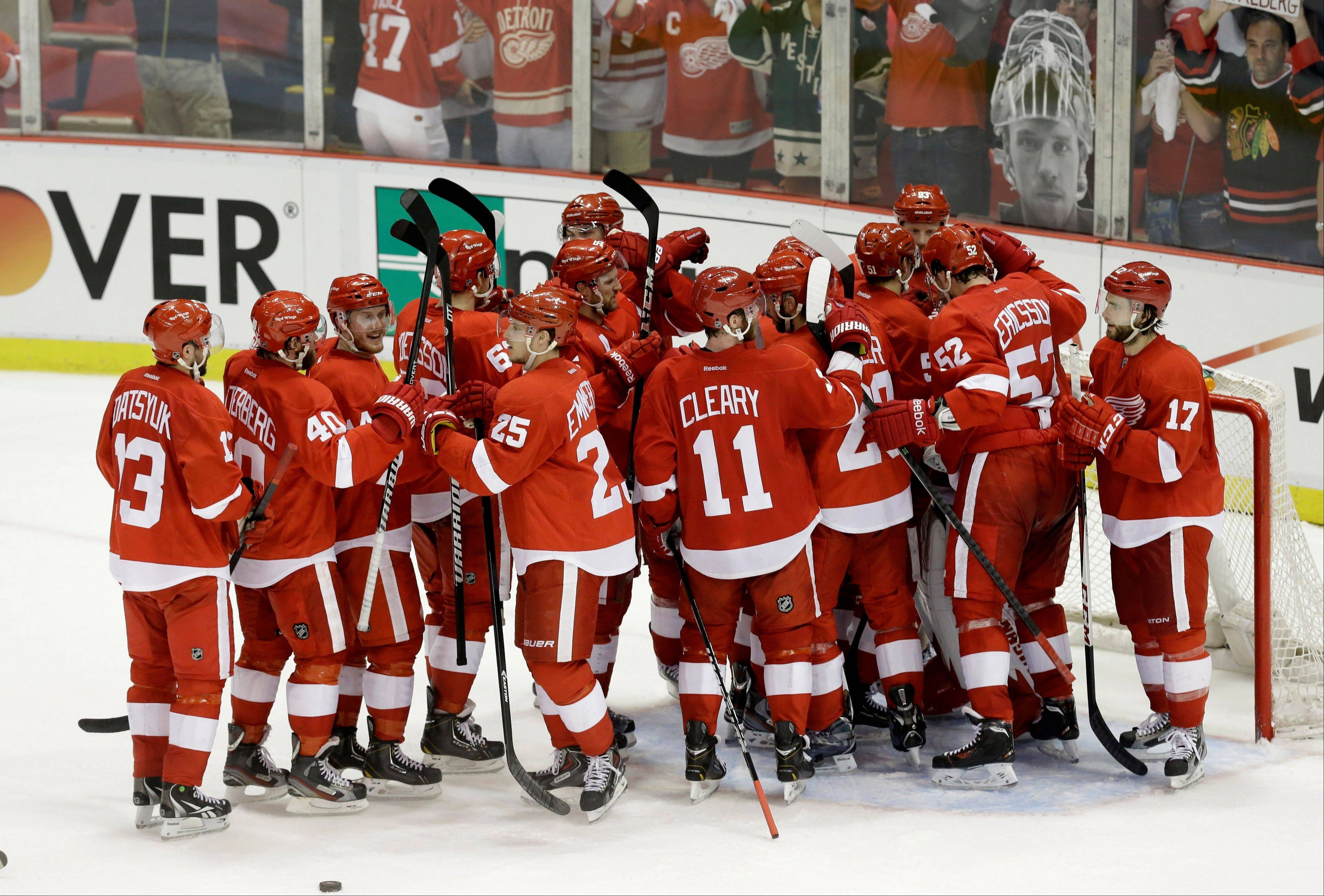 Who's to say the Detroit Red Wings, here celebrating their 3-1 victory in Game 3, haven't evolved into a team as good and deep and cohesive and gritty and overall dangerous as the Blackhawks?