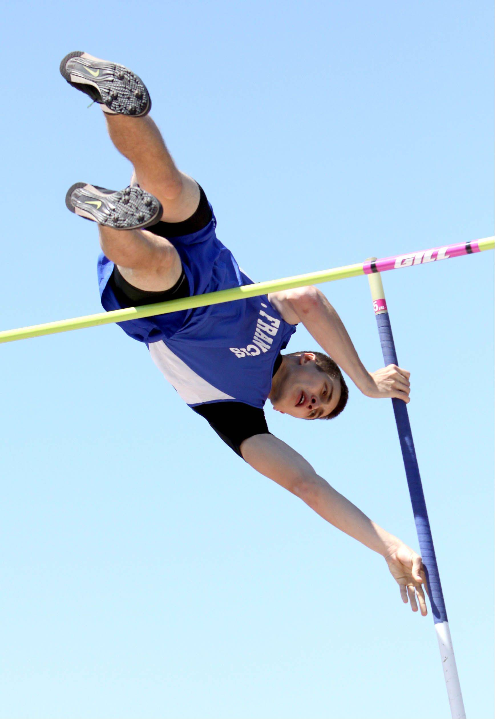 St. Francis' Mike Wilson competes in the pole vault during Class 2A boys track sectional finals on Thursday in River Forest.