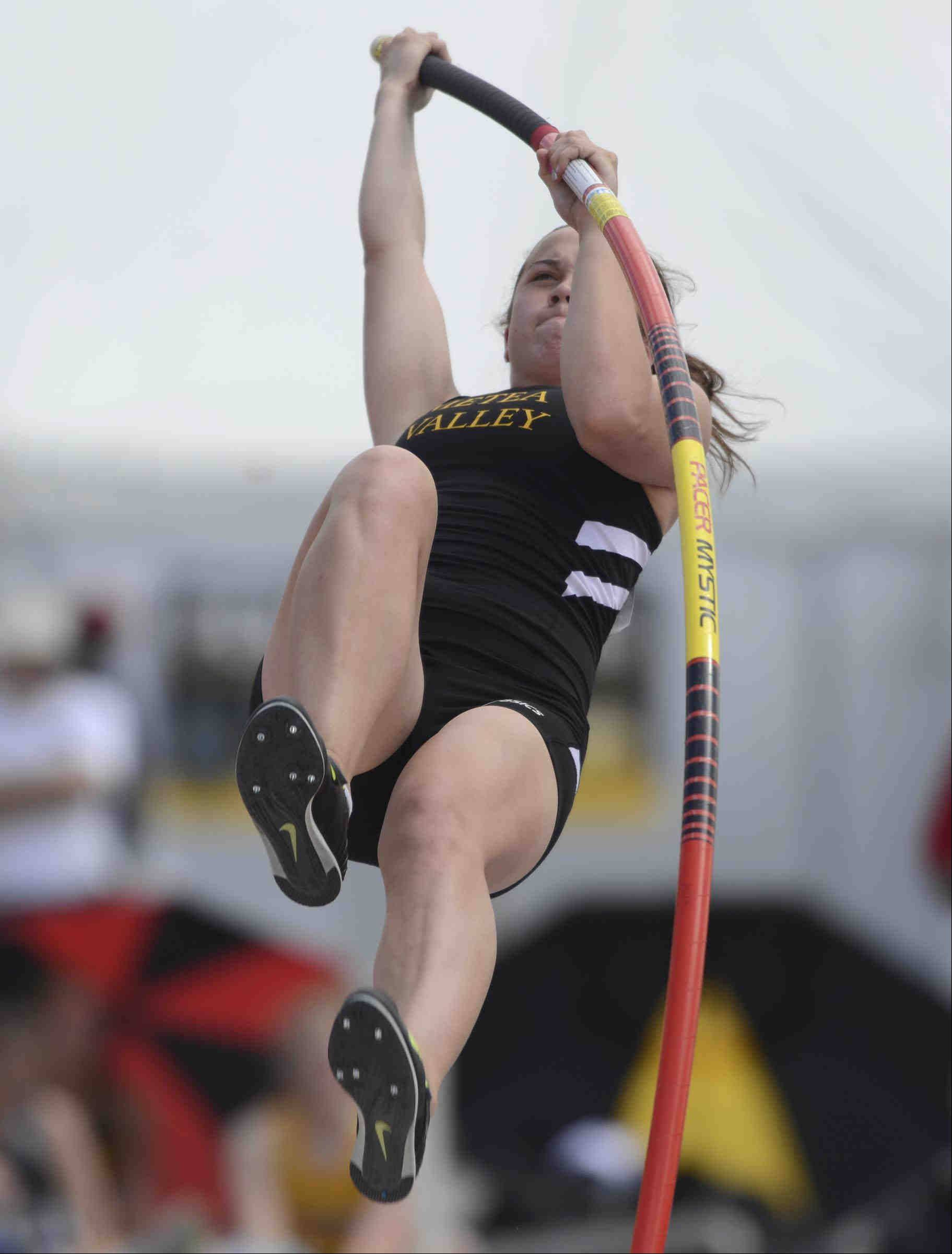 Metea Valley's Nina Brandenburg plants the pole as she competes in the pole vault Friday at the Class 3A girls state track and field preliminaries at O'Brien Stadium at Eastern Illinois University in Charleston.