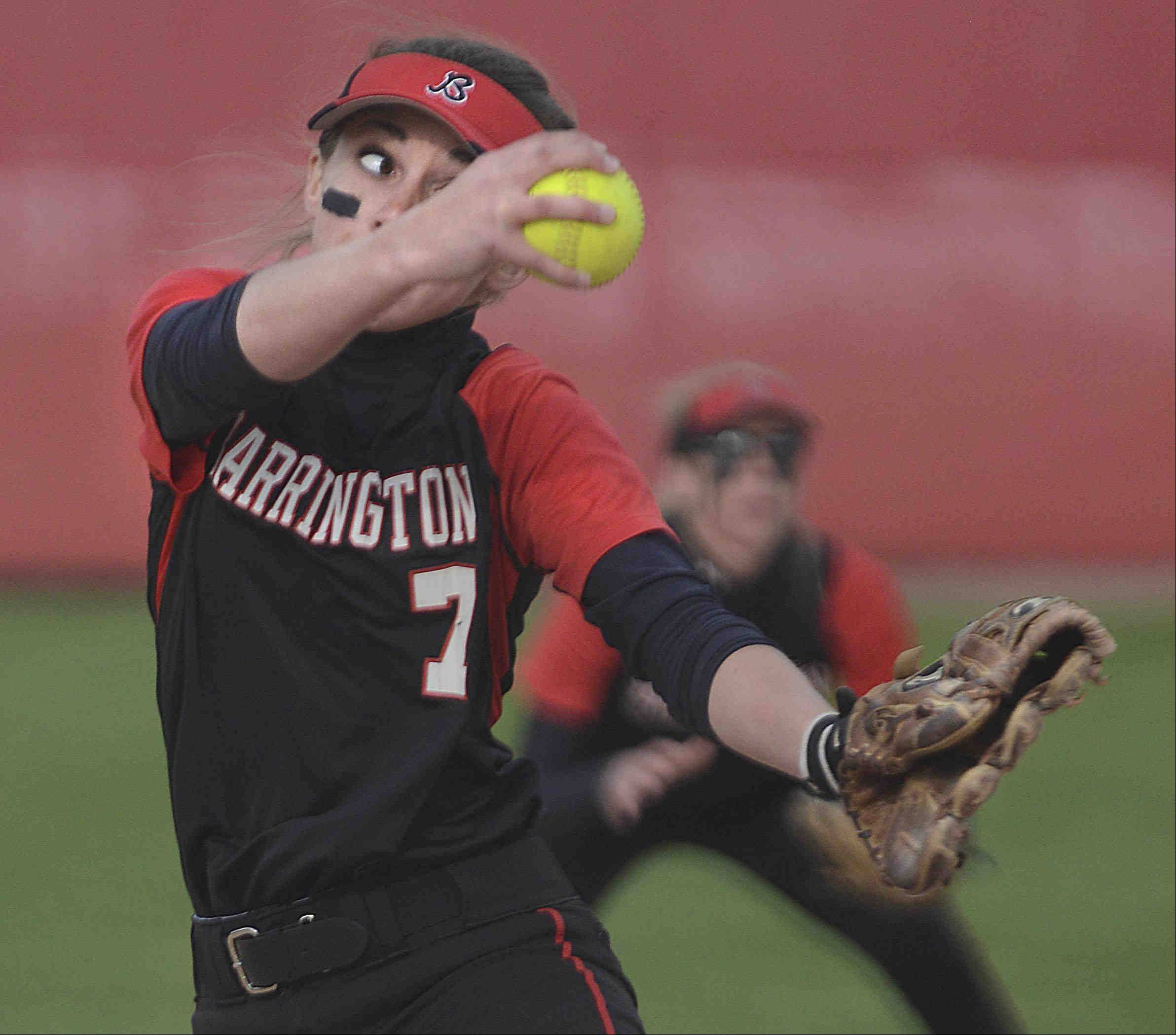 Barrington pitcher Keenan Dolezal delivers against Fremd Monday at the Field of Dreams in Barrington.