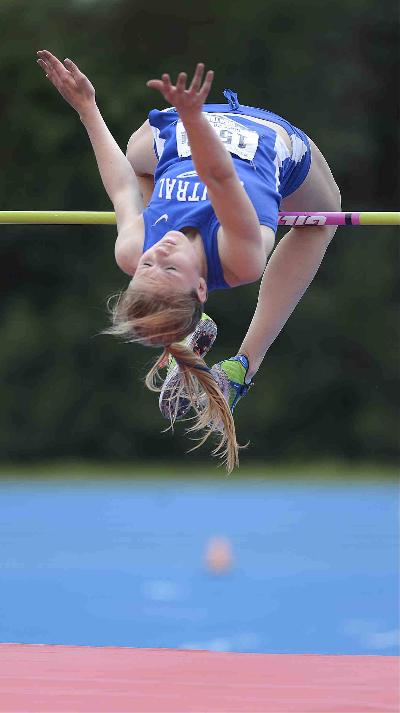 Burlington Central's Katie Trupp clears the high jump bar during Saturday's Class 2A girls state track and field finals in Charleston.