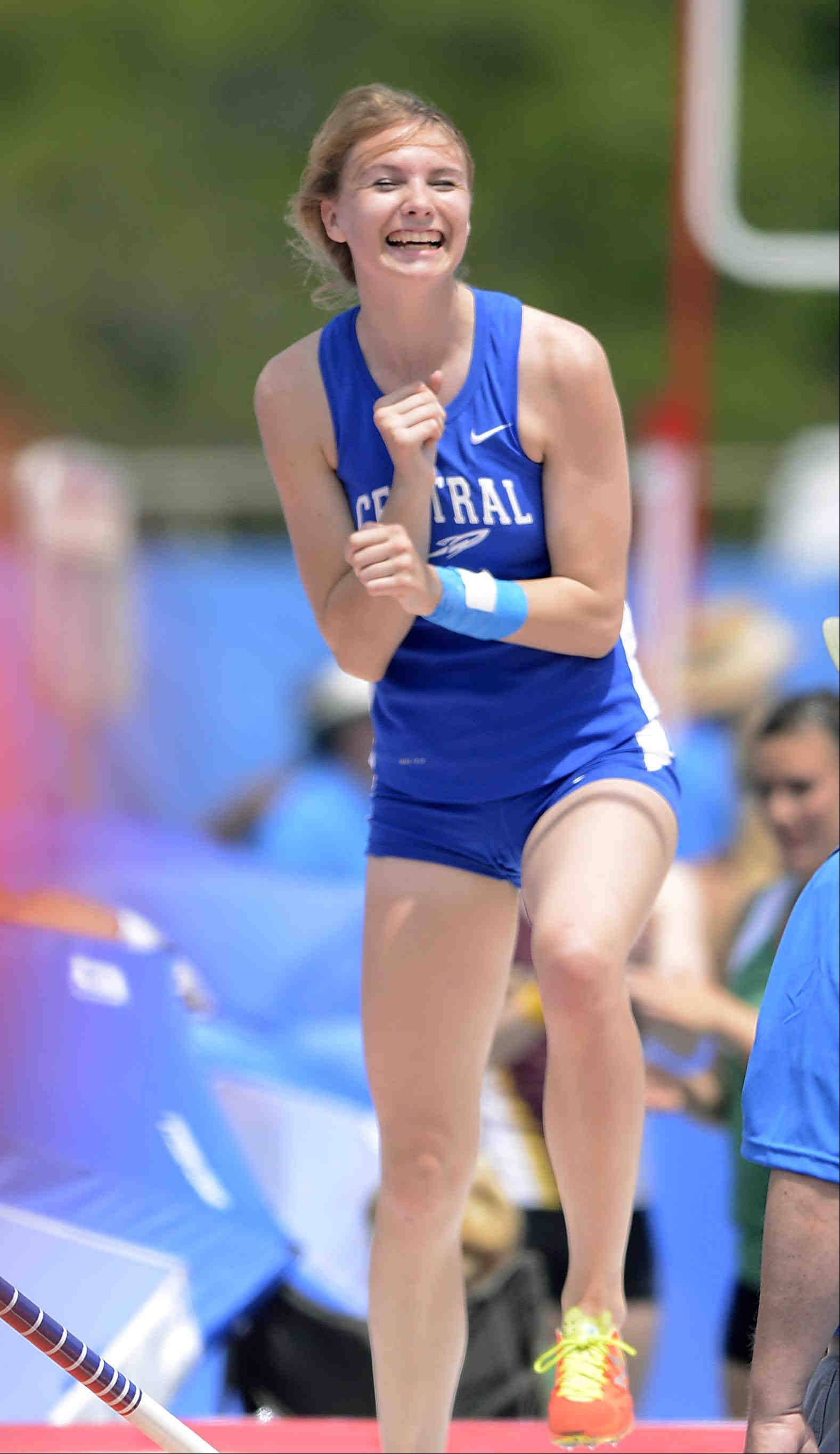 Burlington Central's Katie Trupp reacts to her second place finish in the pole vault event Saturday at the Class 2A girls state track and field finals in Charleston.