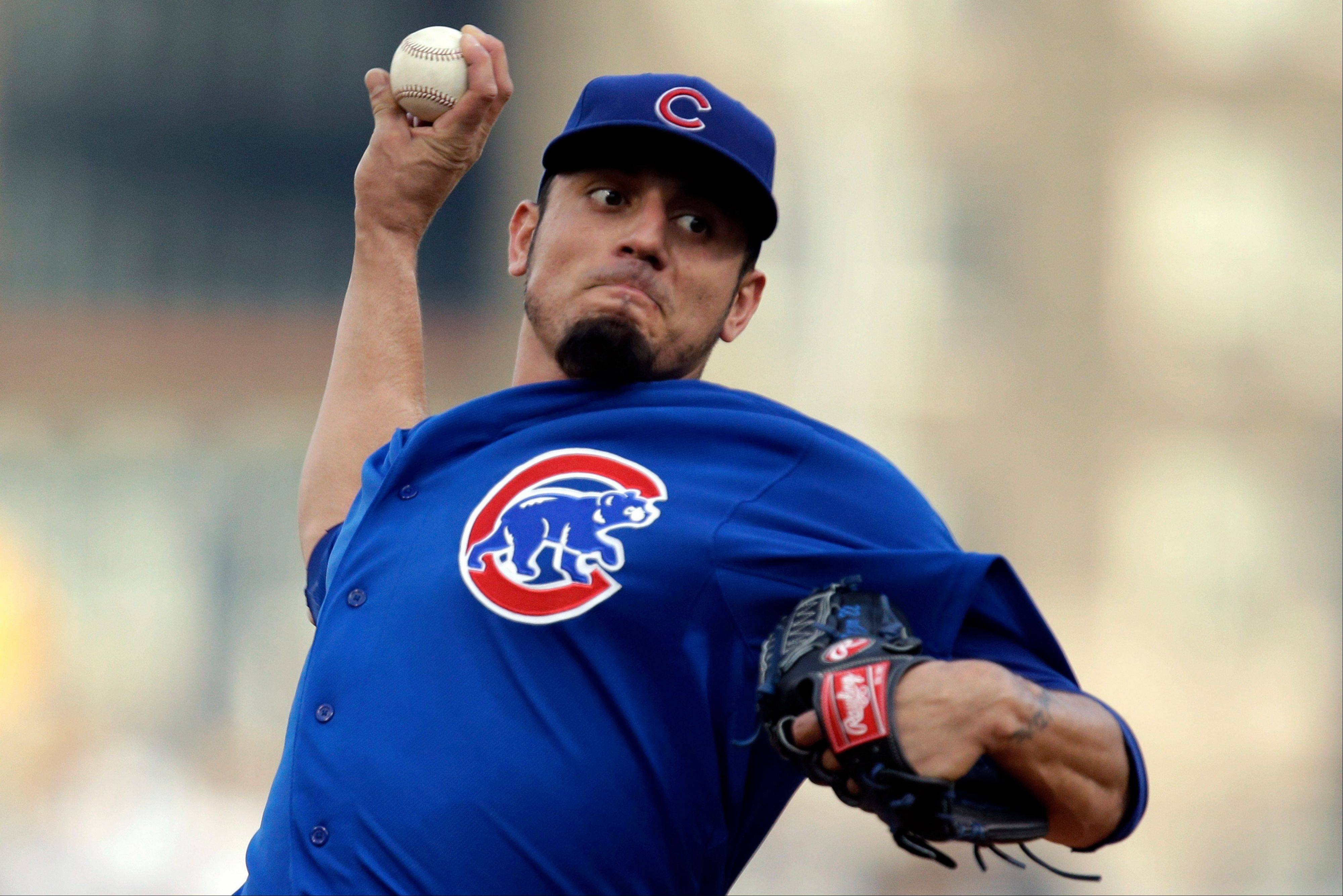 Cubs starting pitcher Matt Garza works against the Pirates on Tuesday in Pittsburgh.